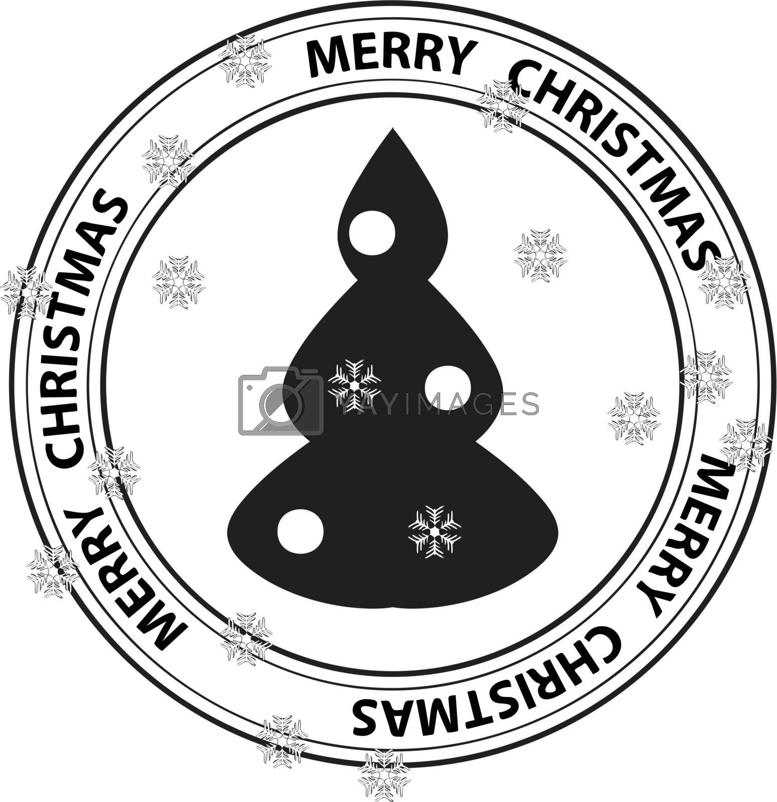stamp with Xmas Tree and snowflakes by H2Oshka