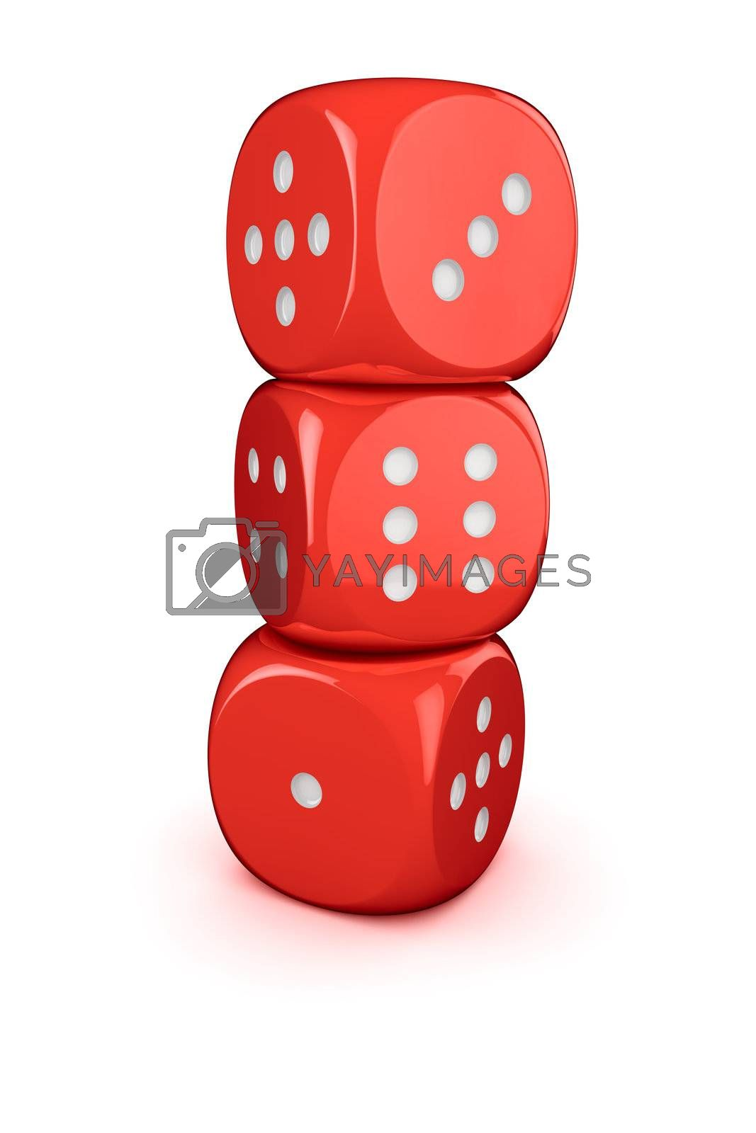 Three red dices in the column