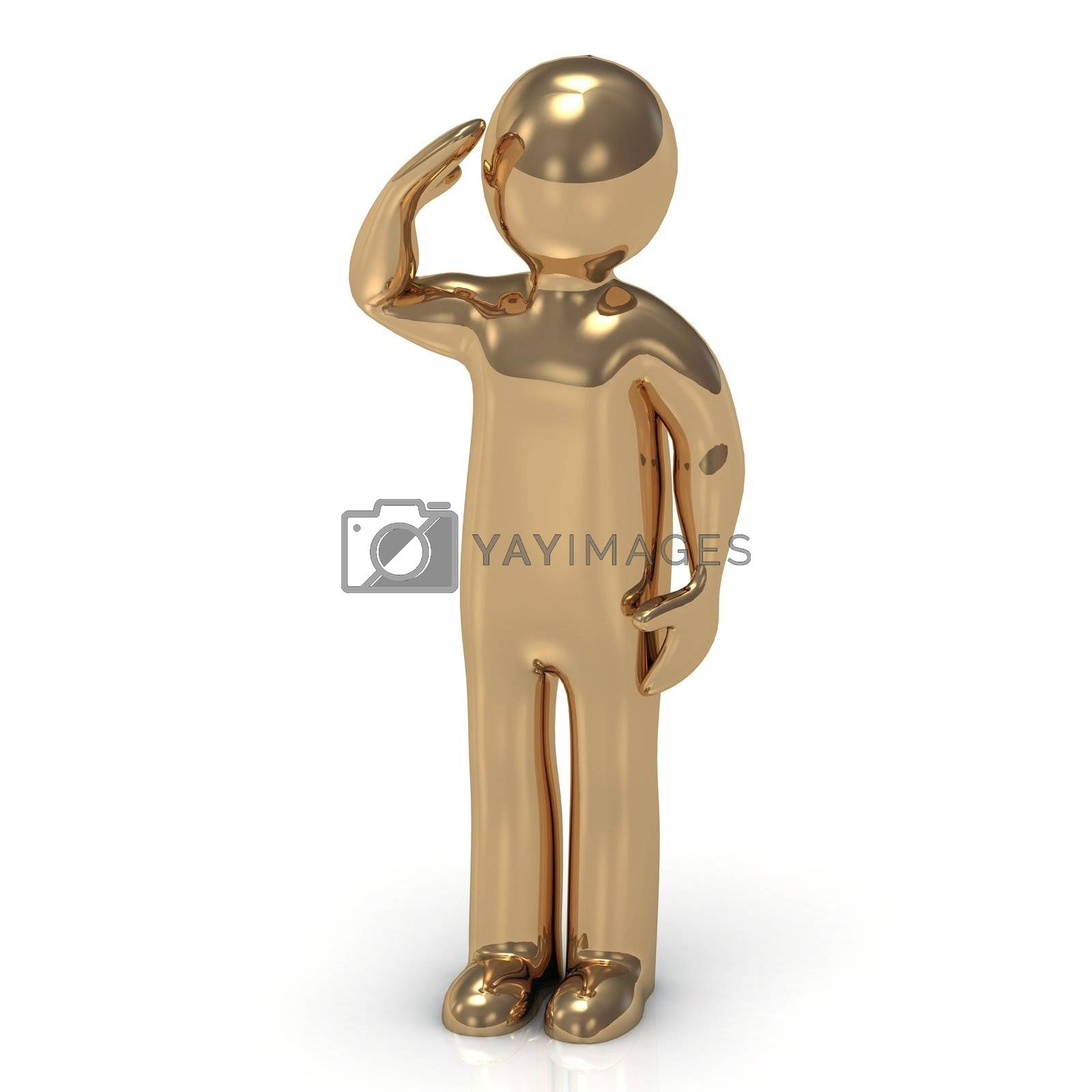 3D gold man soldier salutes by GreenMost