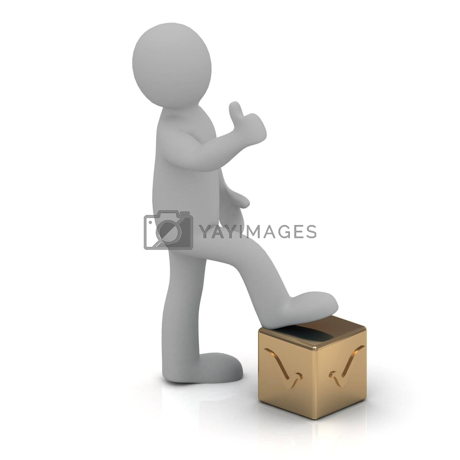 3D man stands one foot on the golden cube engraved with a check mark