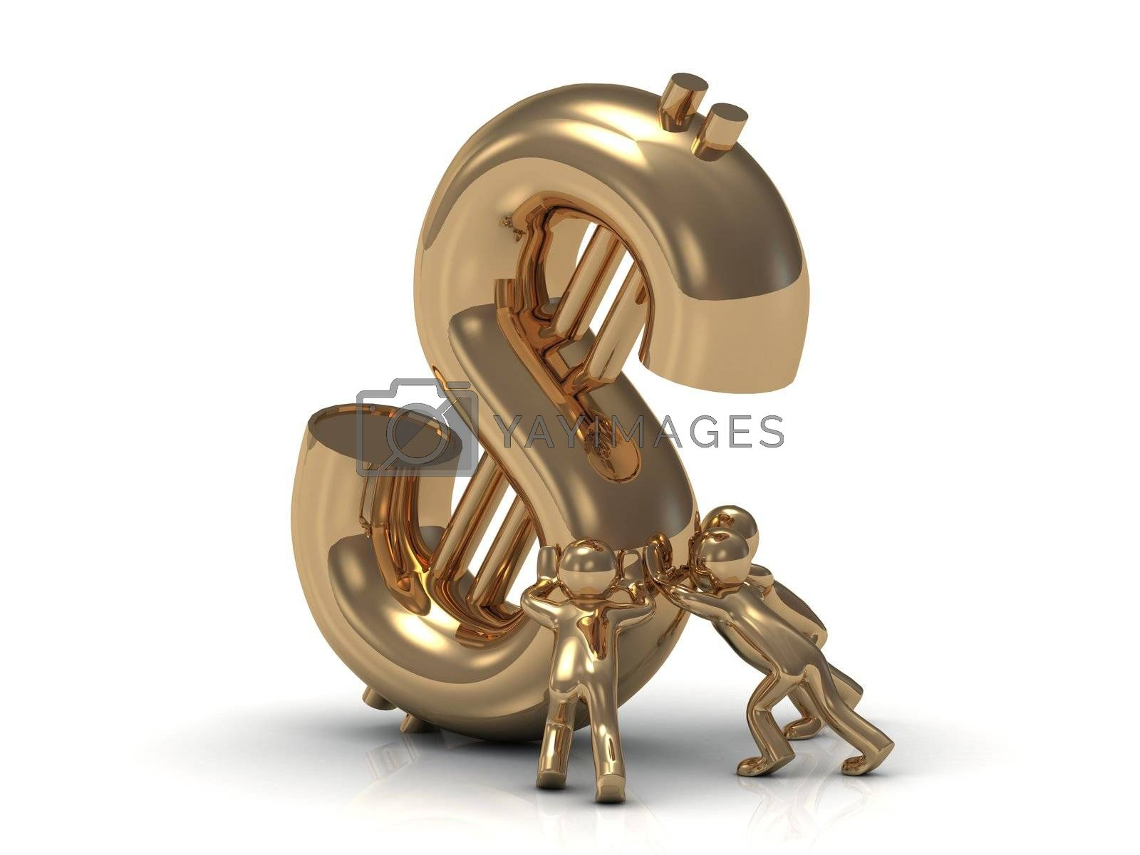 3D small gold people lifts drop a big gold dollar on a white background