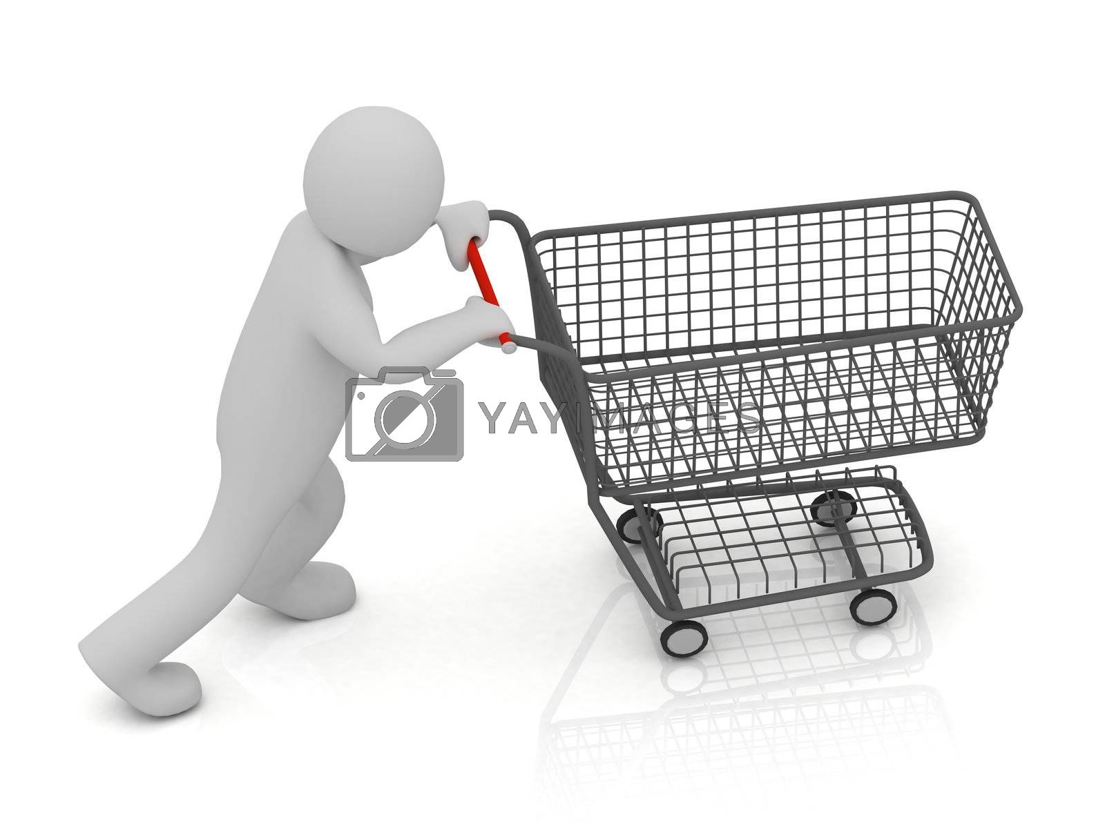 3D small man and shopping trolley by GreenMost