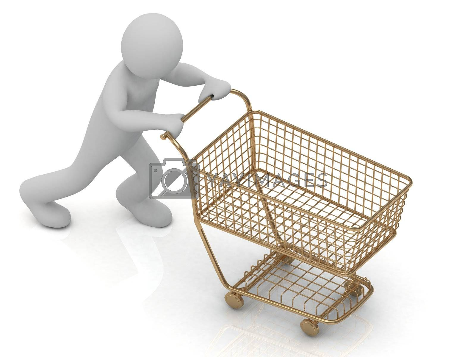Human Character and gold shopping trolley  by GreenMost