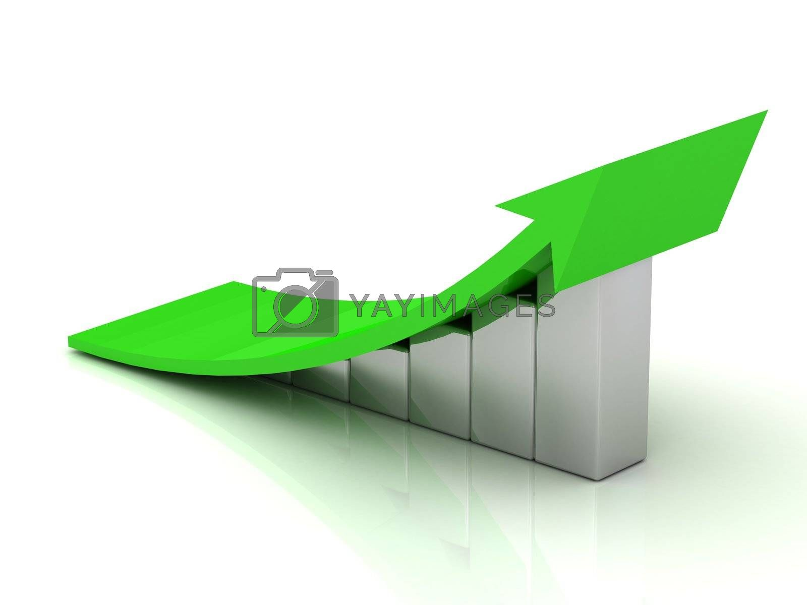 Chart the growth of the silver bars with a green wide arrow in a very high resolution on a white background