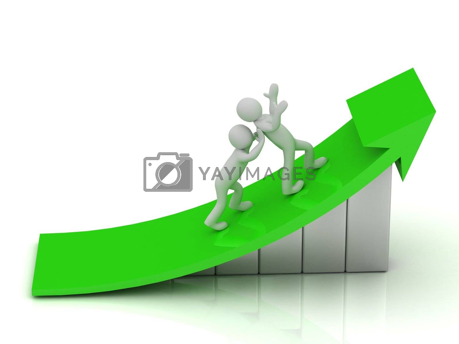 3d small people - promotion and career advancement. Abstract illustration on a white background