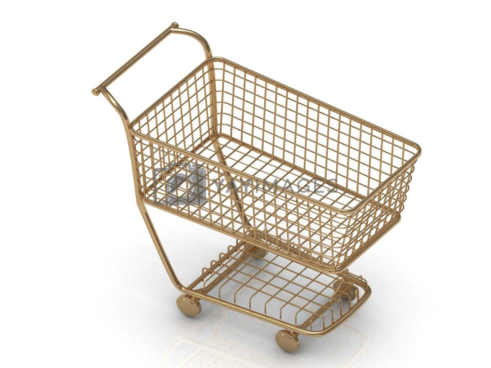 Gold shopping trolley (basket) in high definition isolated on a white background