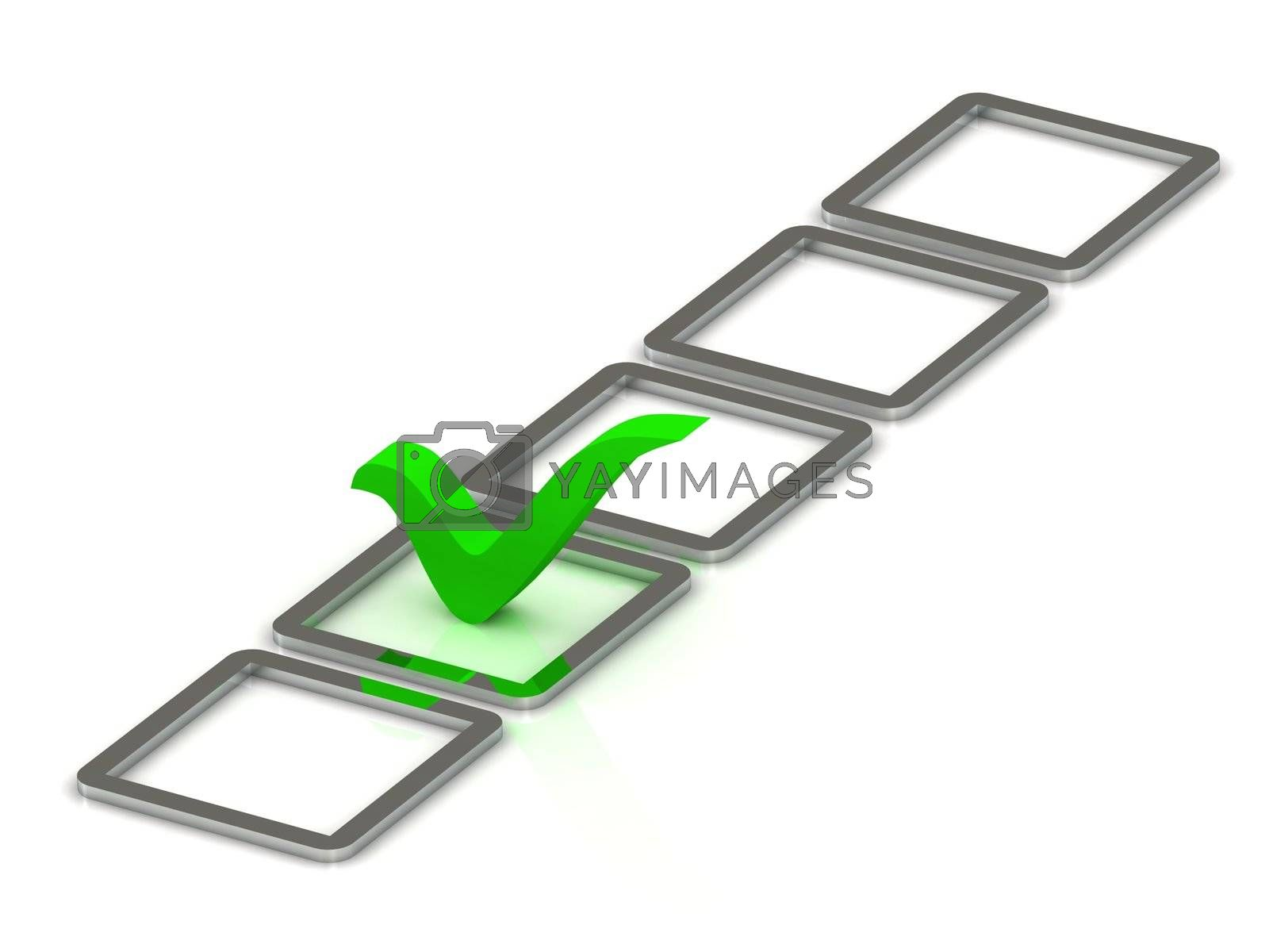 3d illustration of green check mark and 5 silver box over white background