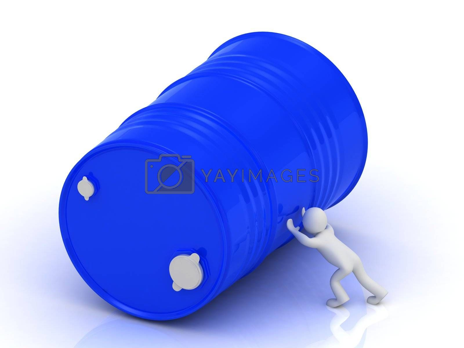 3D man pushing a large metal oil barrel. Illustration isolated on white background