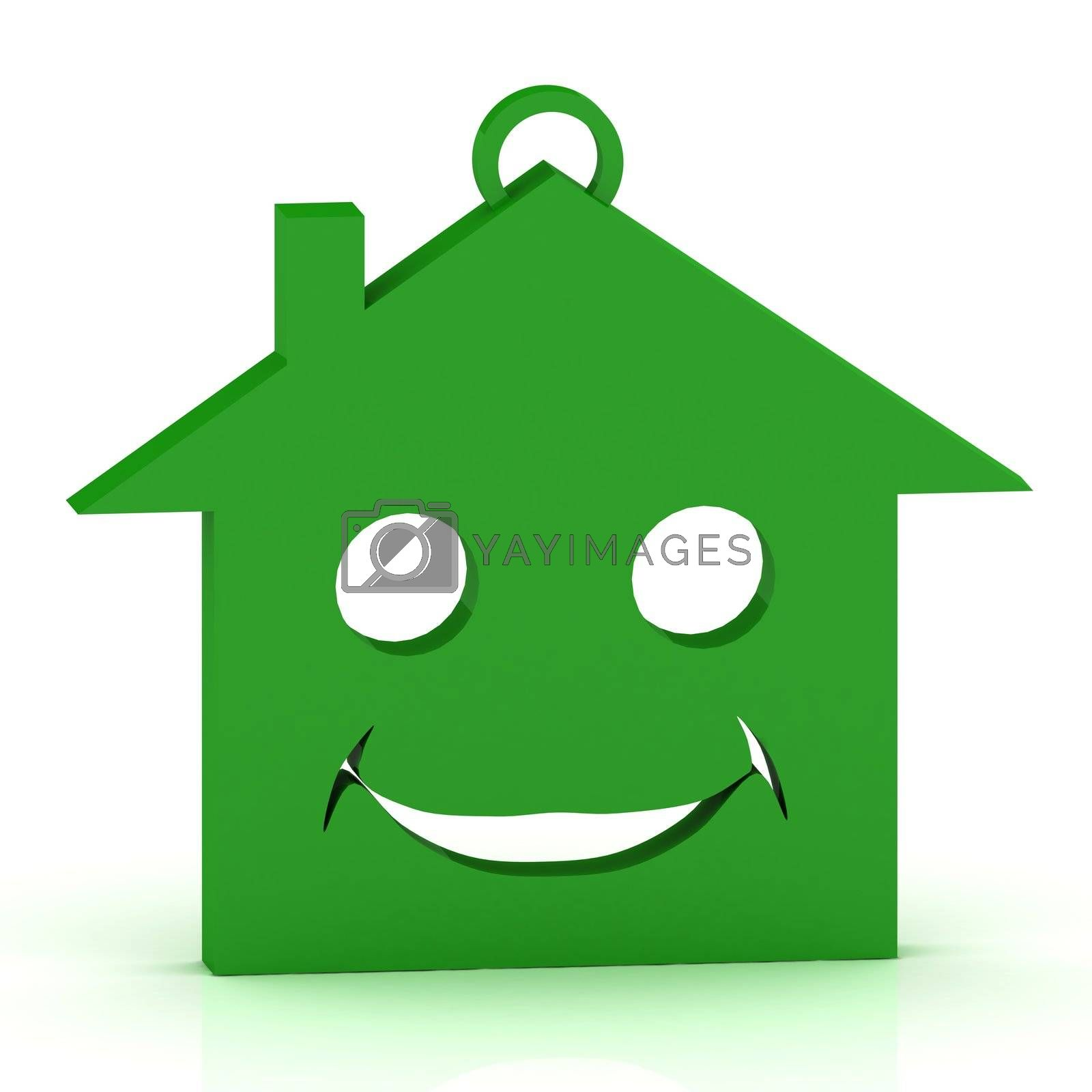Keychain green house with a beautiful smile by GreenMost