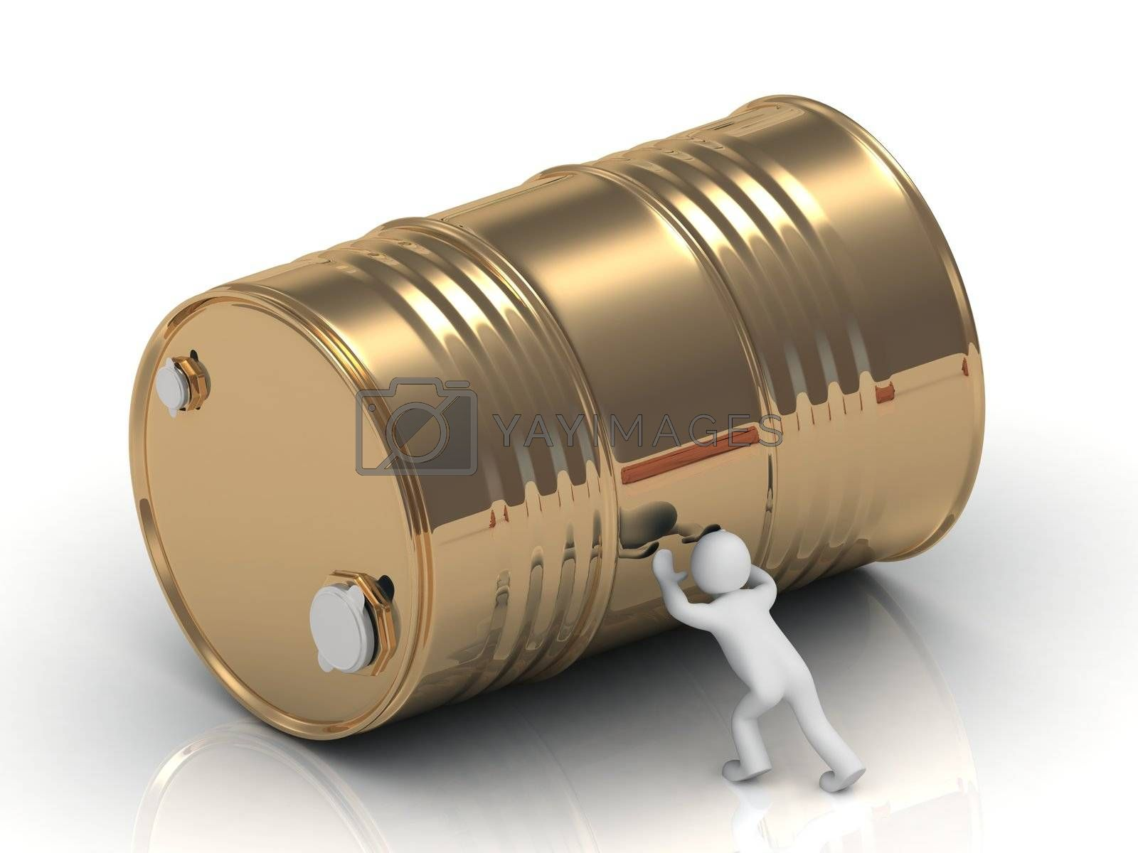 3D man pushing a large gold barrel by GreenMost