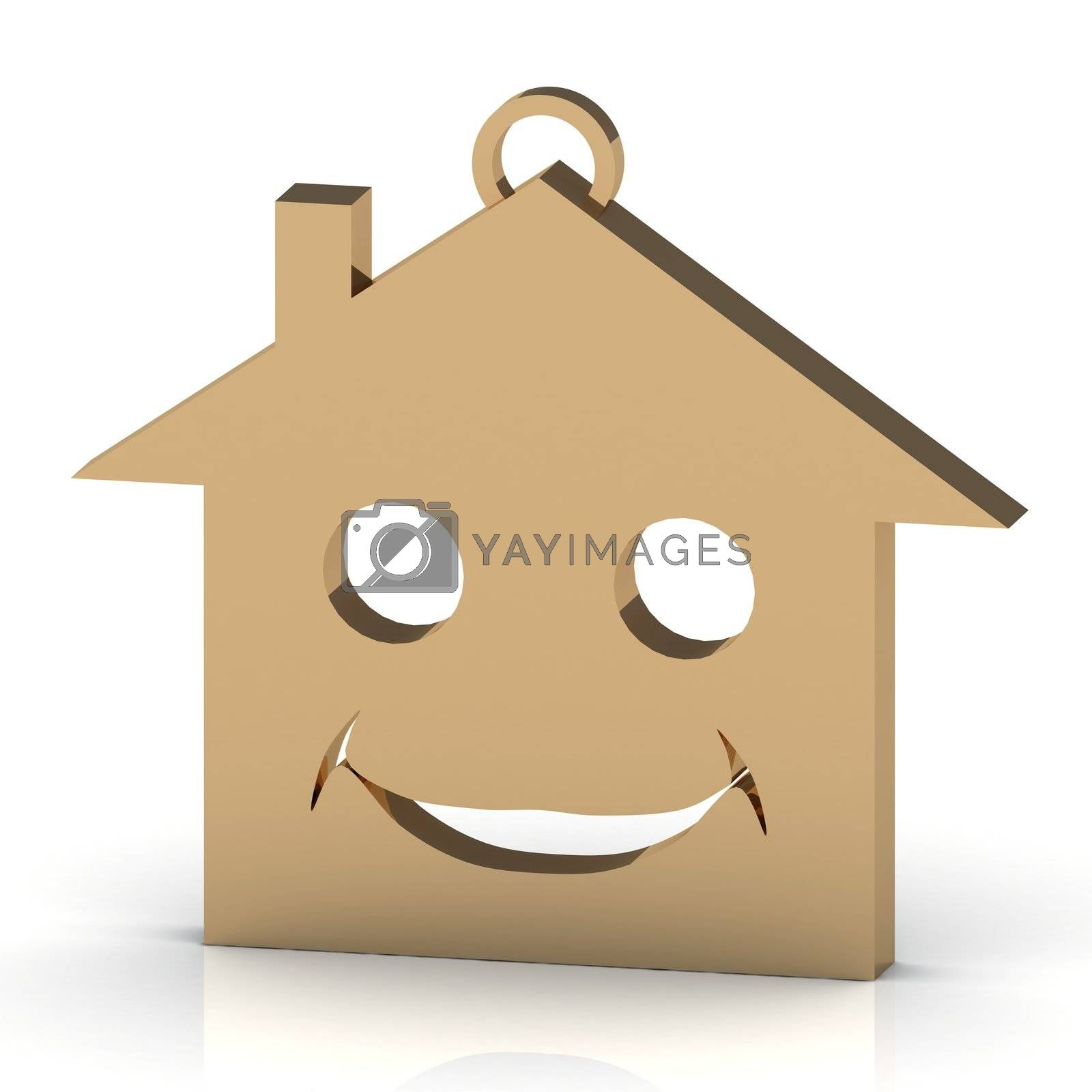 3D abstraction keychain gold house with a beautiful smile on white background