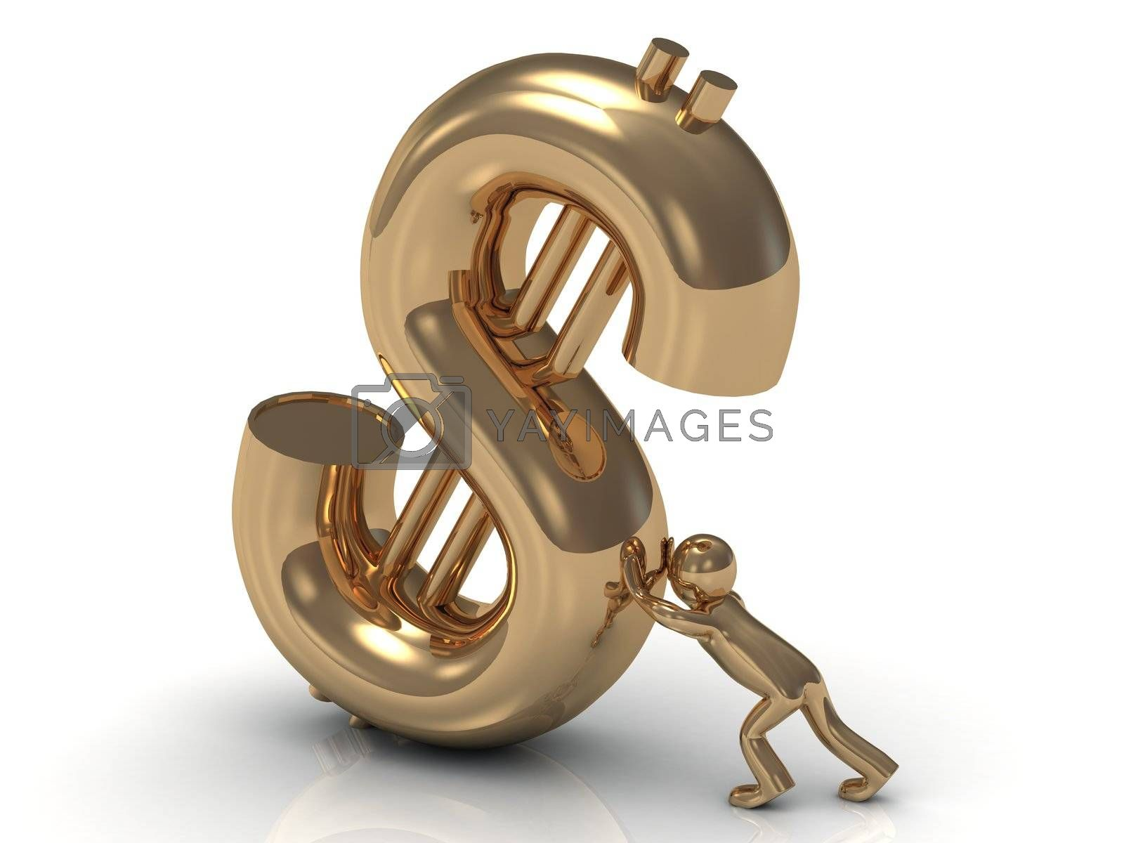 3D little gold man lifts drop a big gold dollar on a white background
