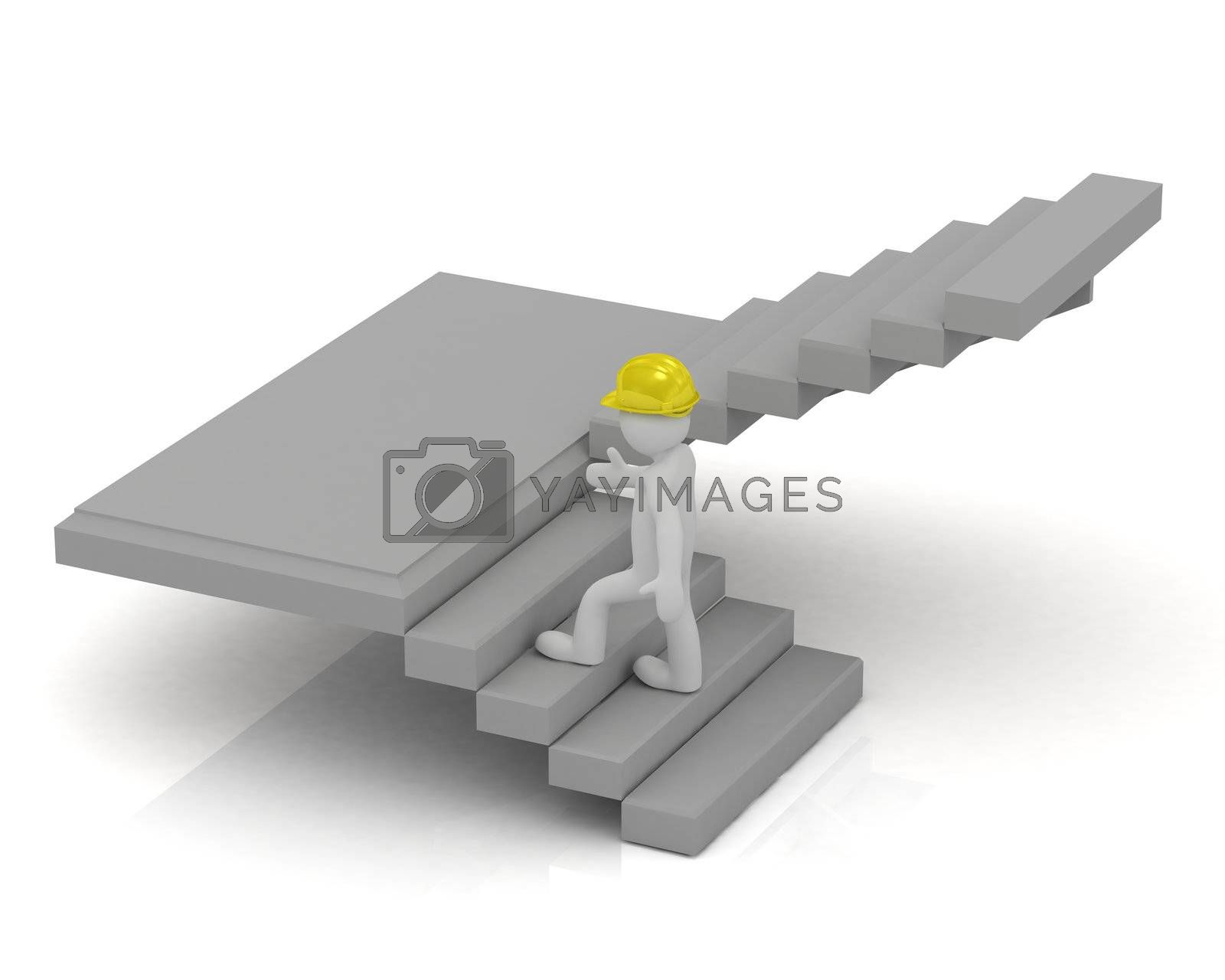 3D little man in a yellow helmet up the stairs and inspect the construction object