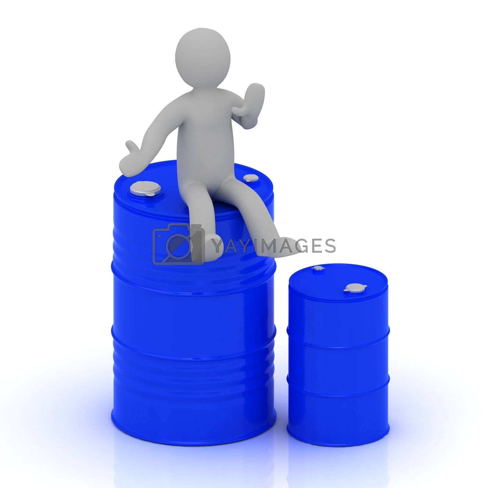 3D small man is sitting on a blue barrel with oil by GreenMost