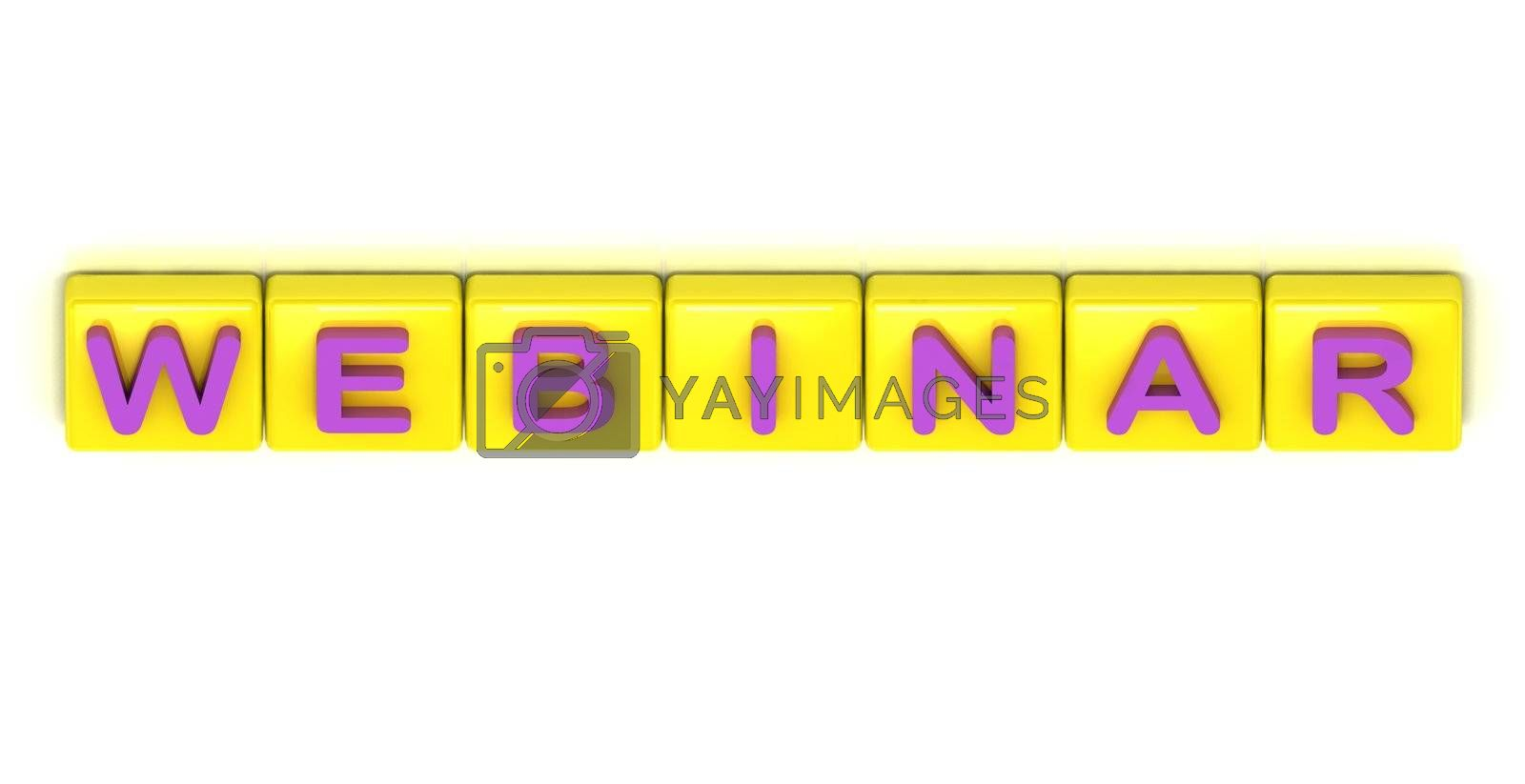 Webinar word on yellow squares on white background
