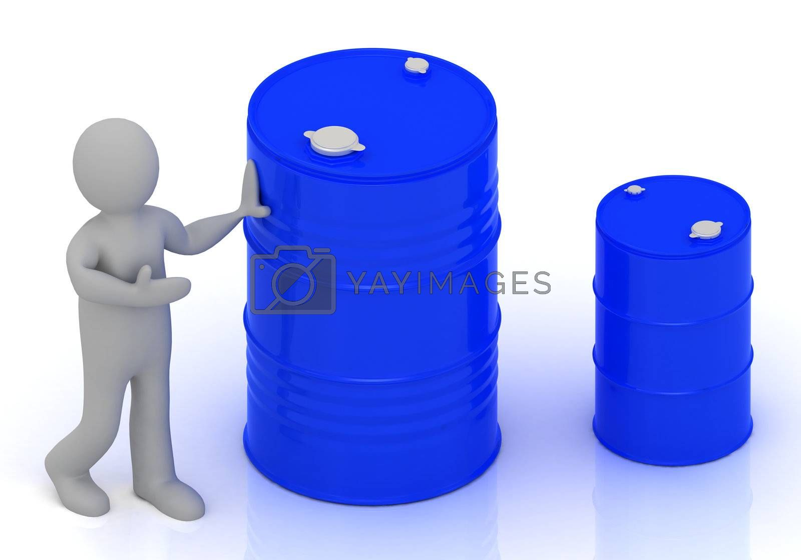 3D little person shows a blue barrel of oil. Abstract illustration on a white background