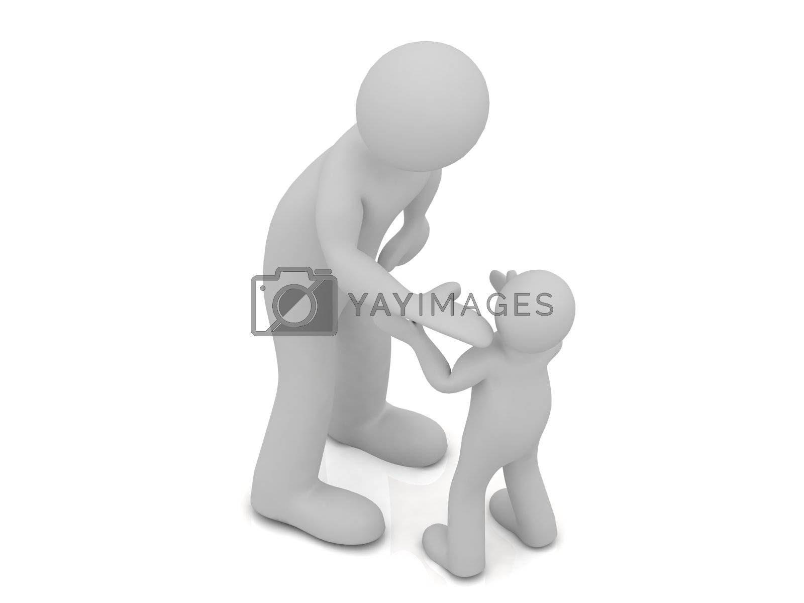 3D grandfather talking to his grandson. Abstract illustration on a white background