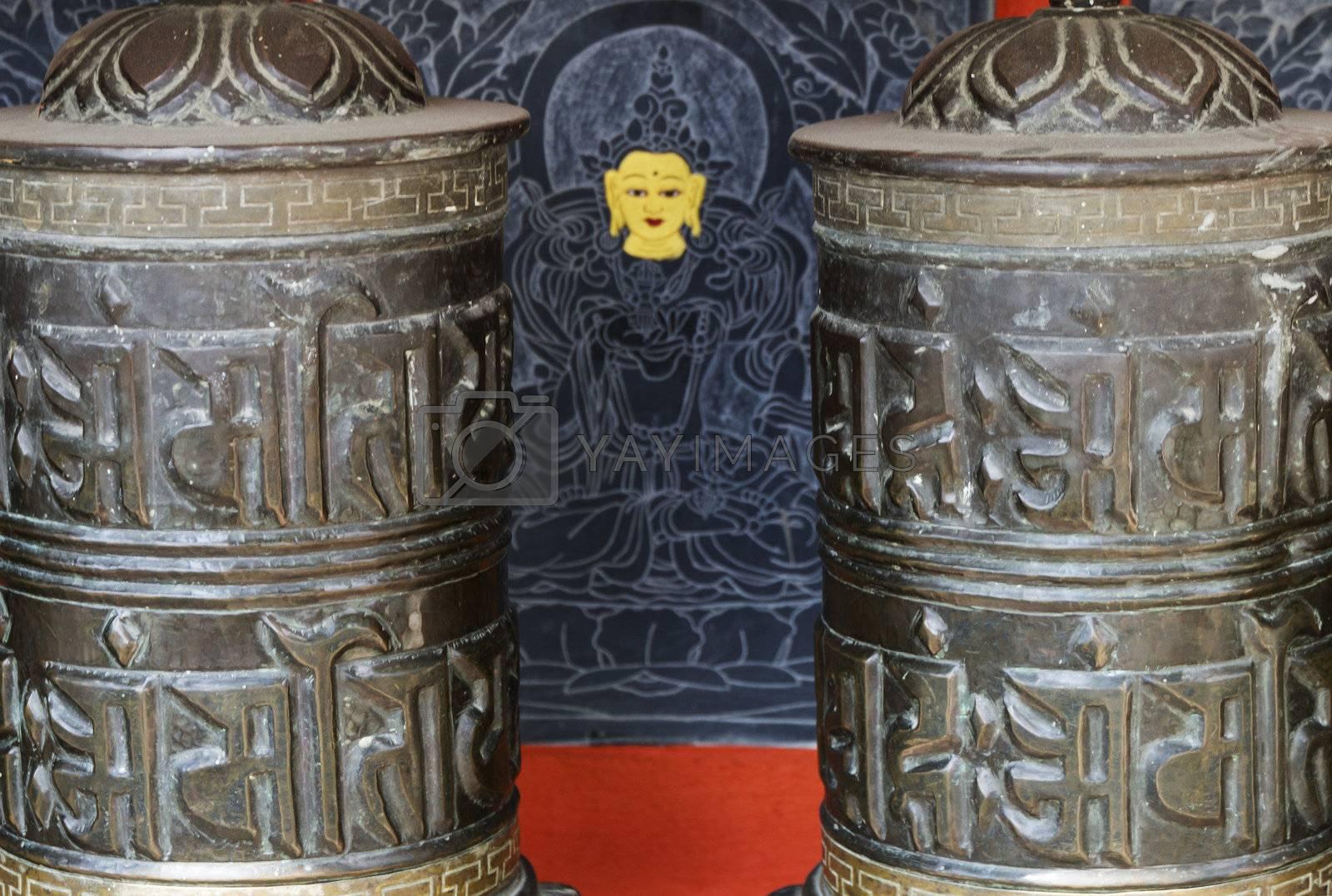 detail of prayer wheels in nepal by gewoldi
