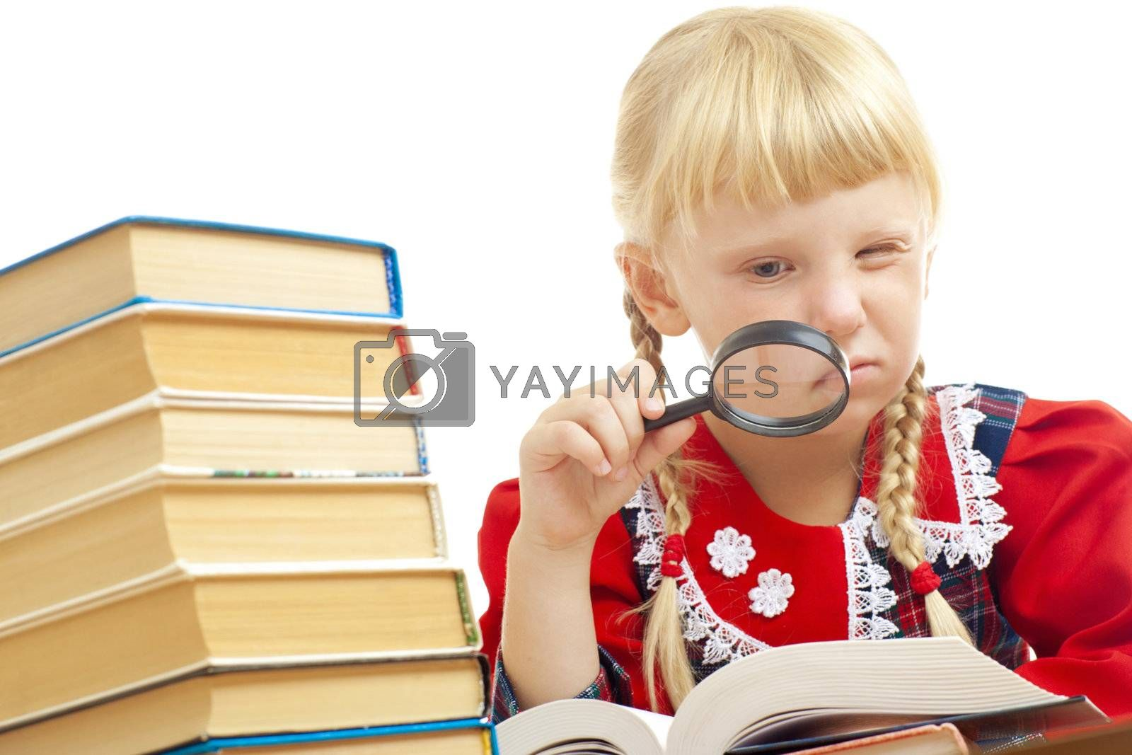 girl reading with loupe by vsurkov