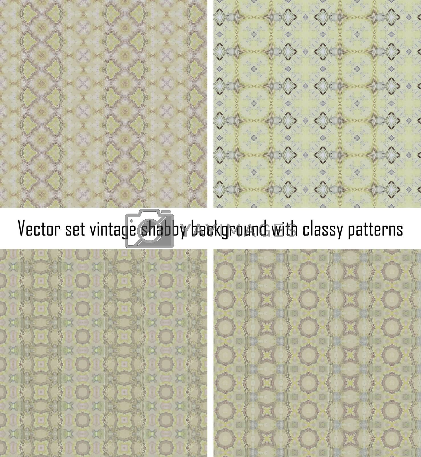 Set vintage shabby background with classy patterns by H2Oshka