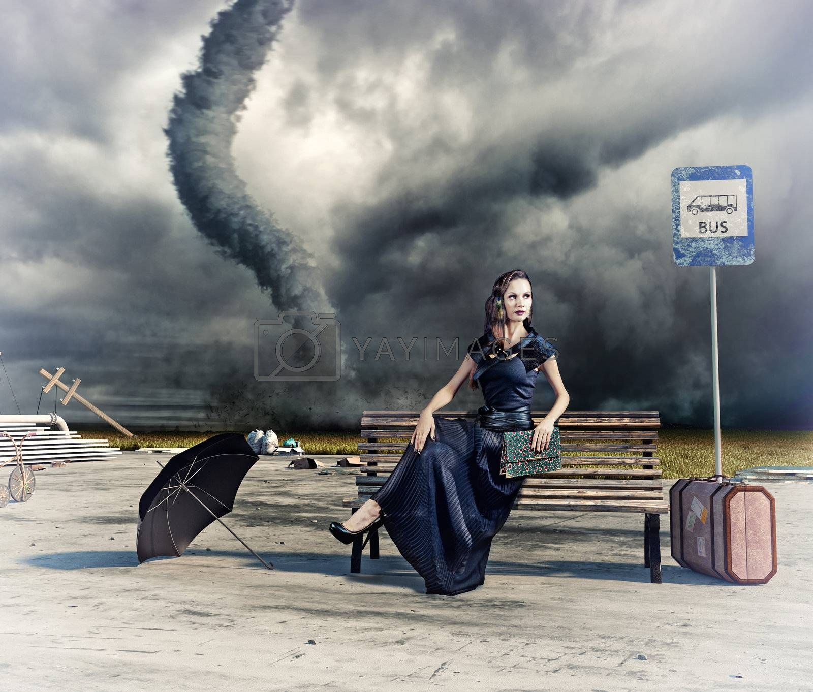 woman and tornado by vicnt