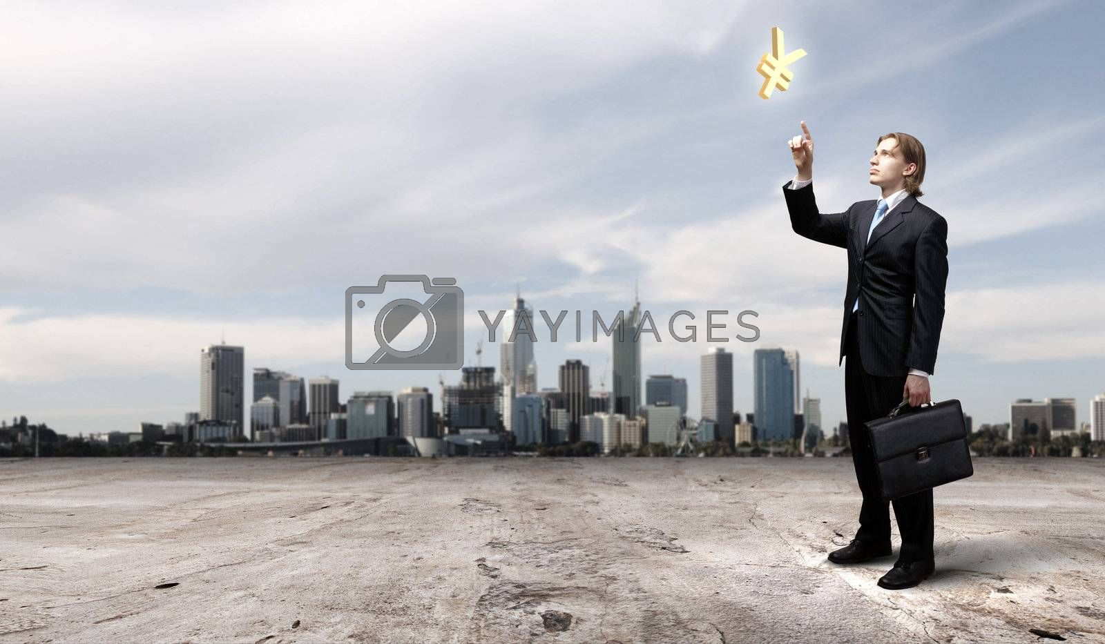 Image of a business man standing against cityscape by Sergey Nivens