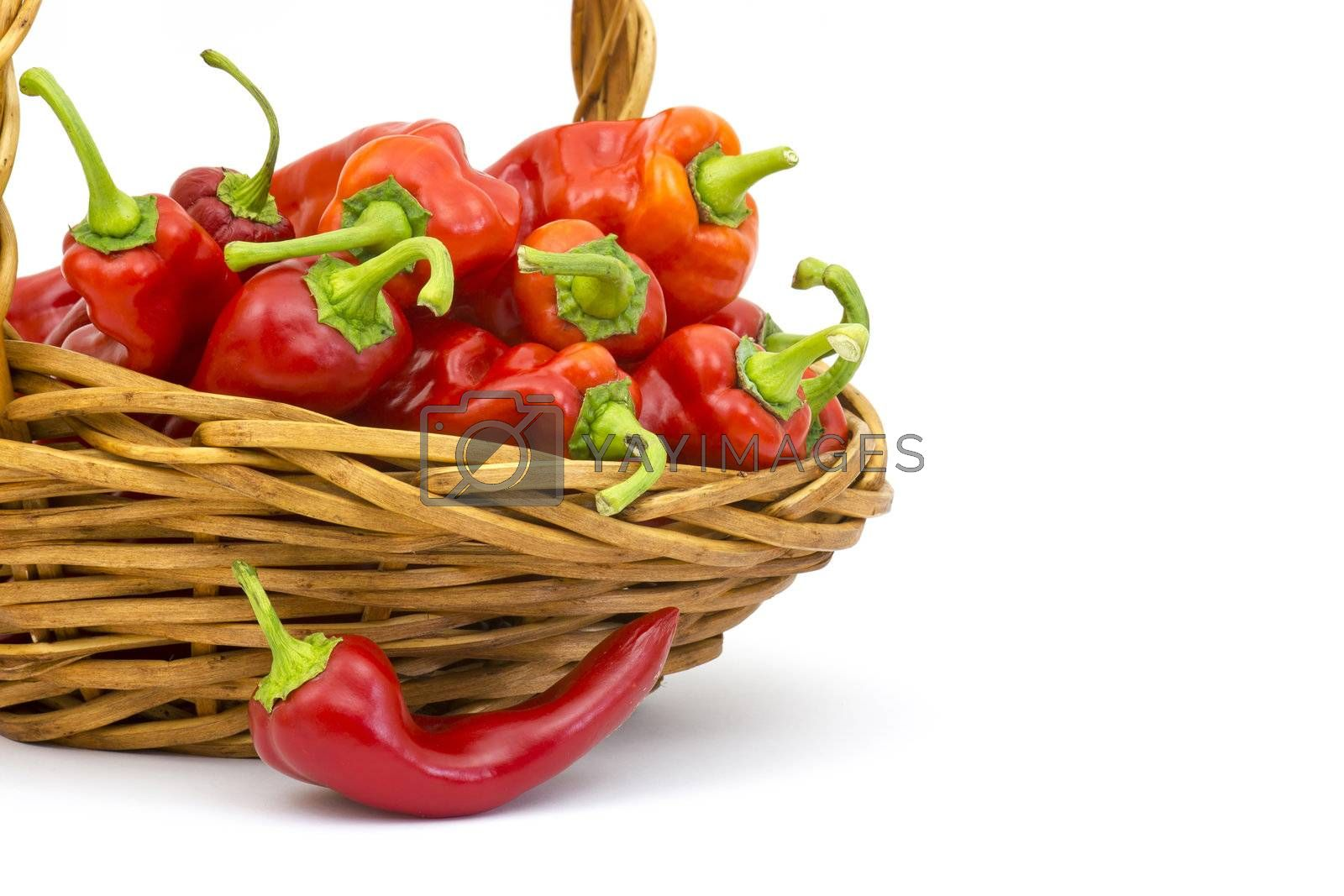 red peppers in a basket by miradrozdowski