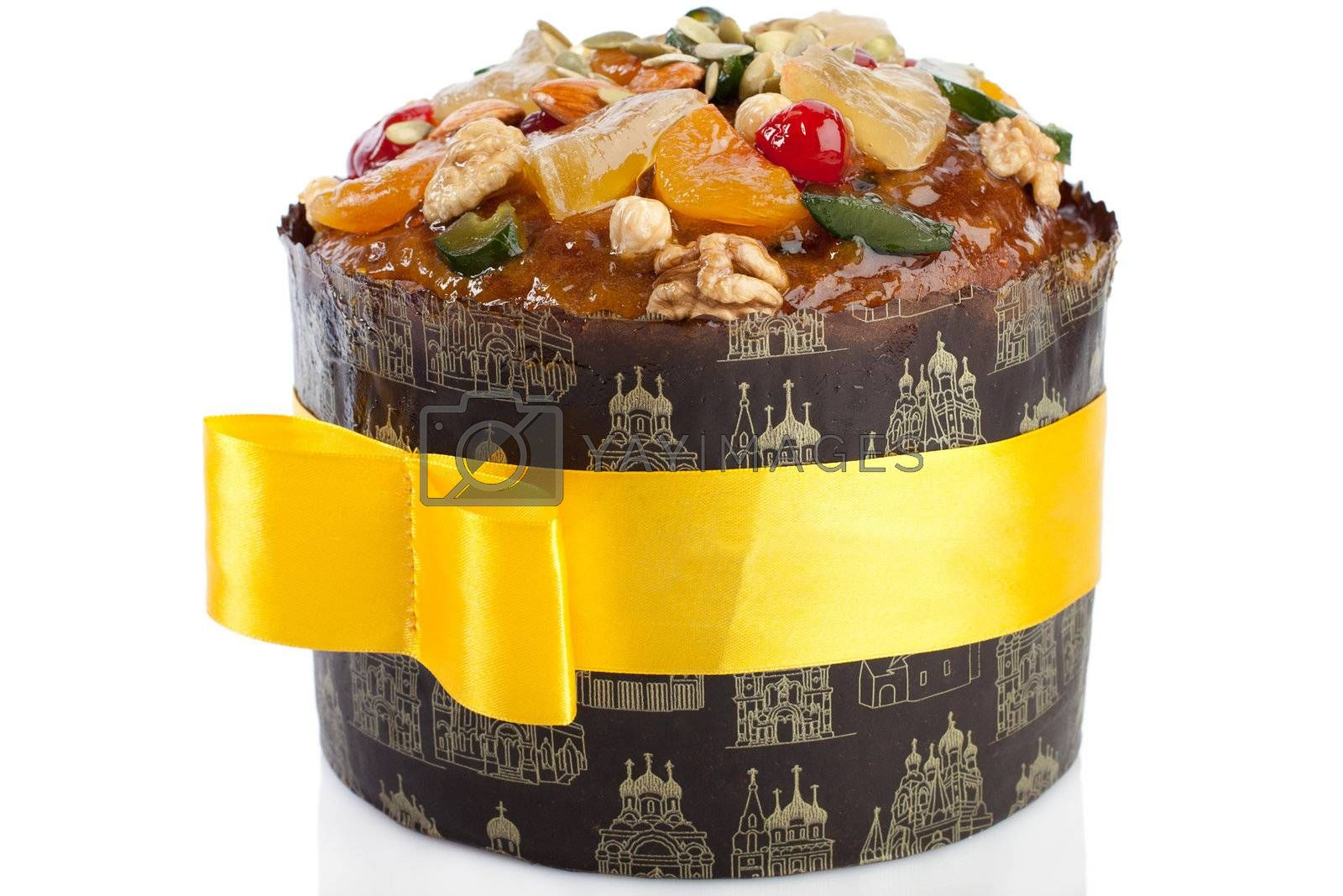 Traditional in Eastern Europe Easter cheesecake dessert paskha isolated