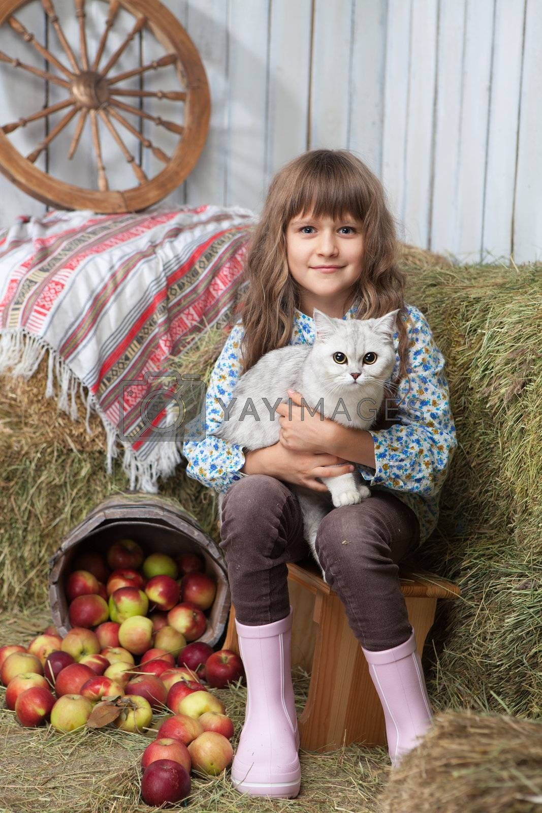 Portrait of friendly little blond girl villager sitting with white cat on hands near stacks of hay, pail of apples in wooden hayloft