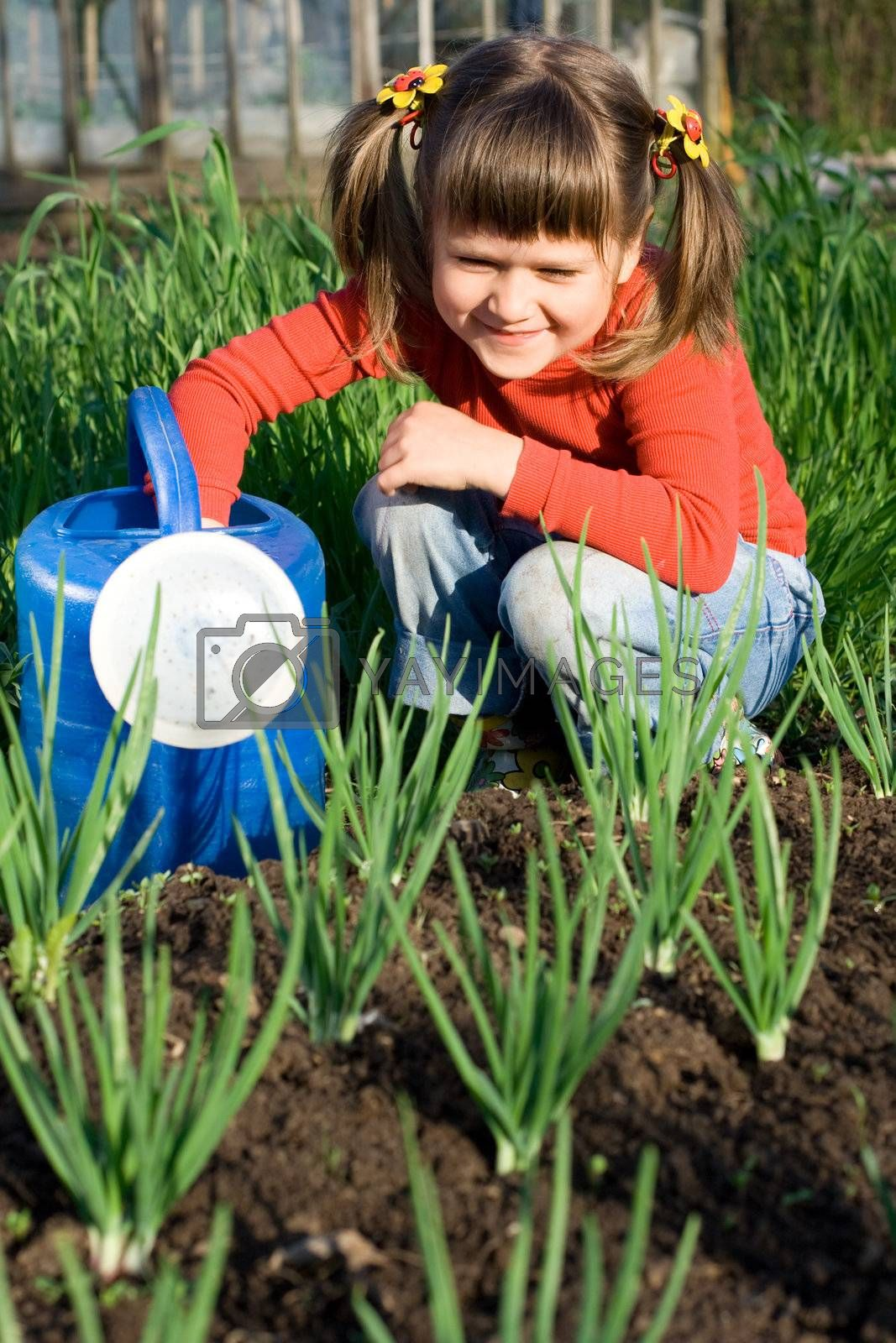 Smiling girl with watering can is sitting near onion patch  by SergeyAK