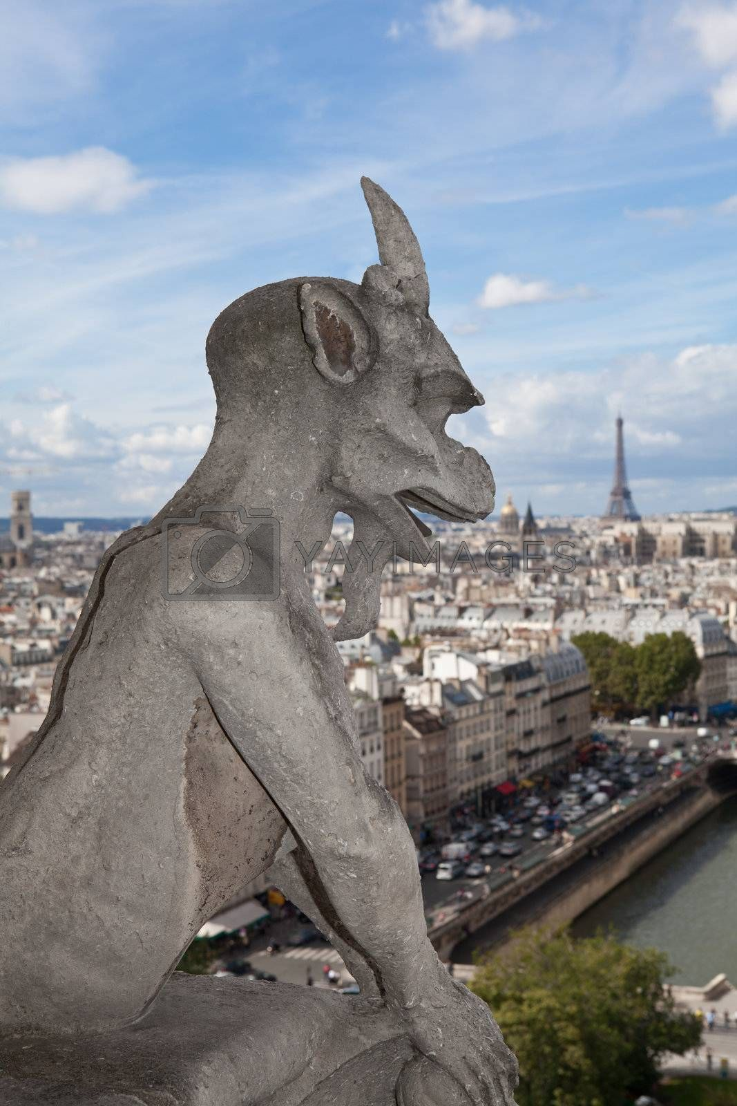 Gargoyle Statue cathedral Notre Dame, top view on tower Eiffel by SergeyAK