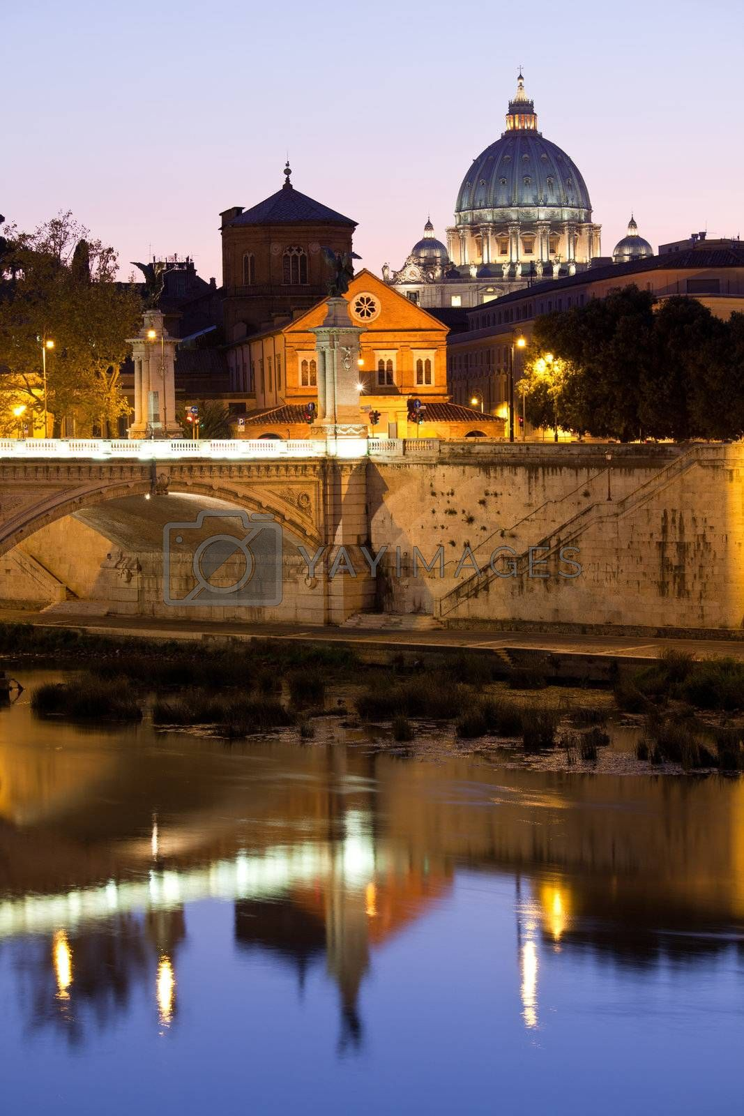 Saint Peter's Basilica Rome Italy on Tiber bank in evening by SergeyAK