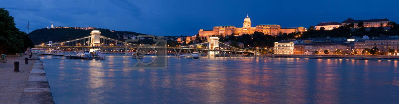 Panoramic cityscape landmark royal Buda castle, chain bridge Bud by SergeyAK