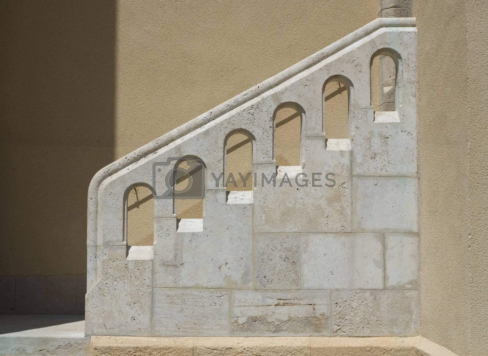 Outside stairs and white stone handrail    by SergeyAK