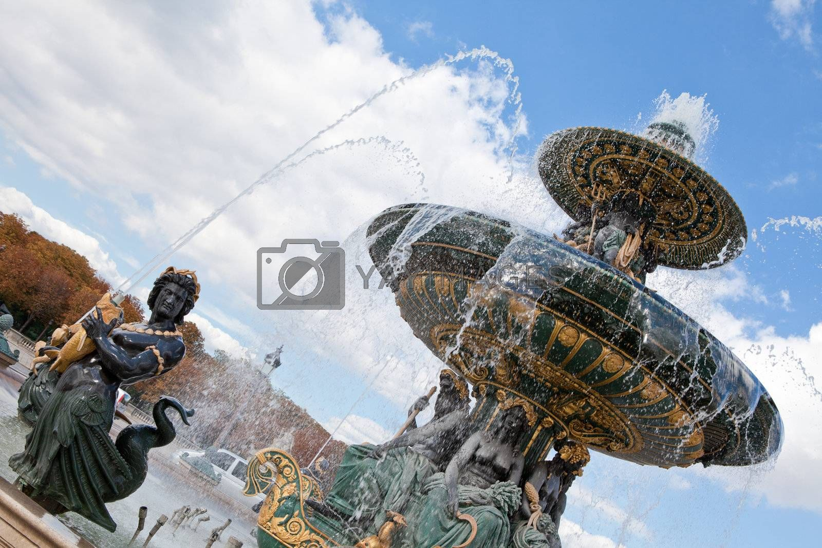 Fountain River Commerce and Navigation on Concord square Paris F by SergeyAK