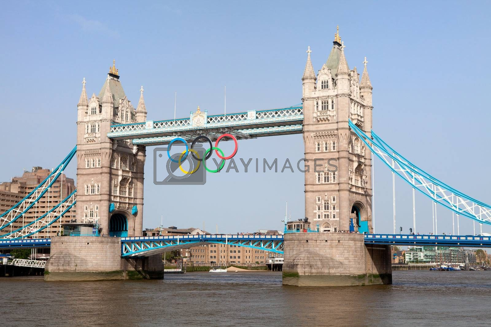 Landmark Tower bridge on river Thames decorated with symbol 5color rings  before Olympic games  in London 2012 Great Britain