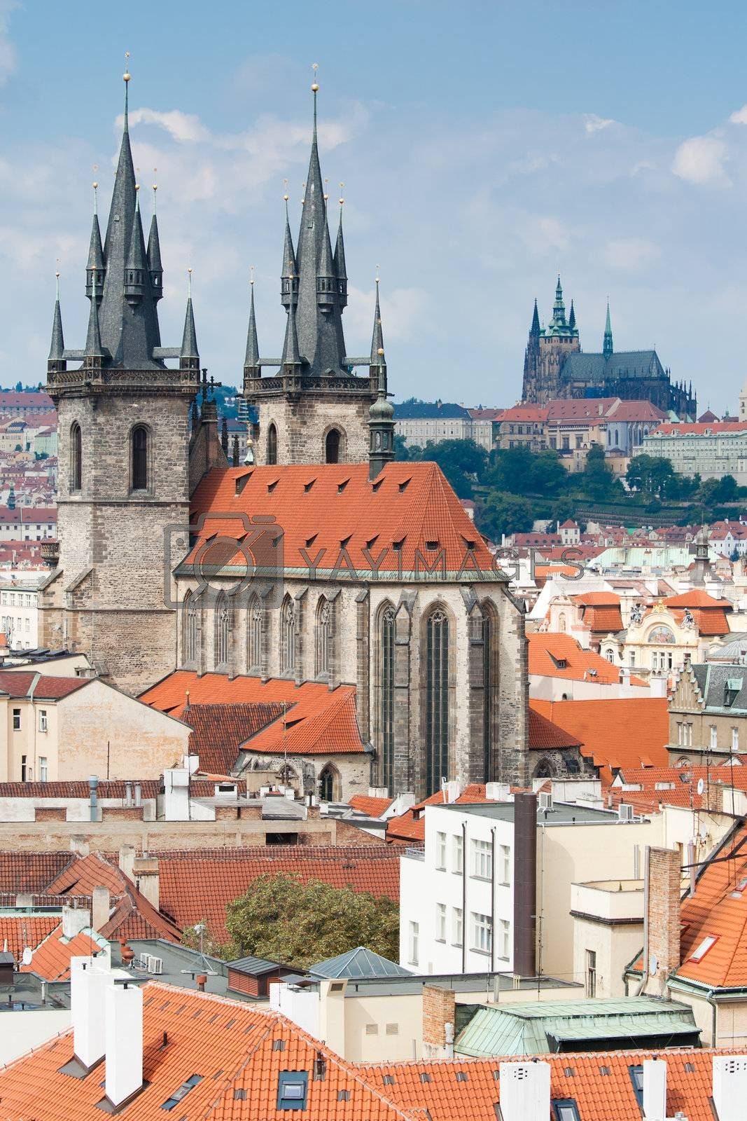 Top view cityscape on old Prague cathedral and castle by SergeyAK