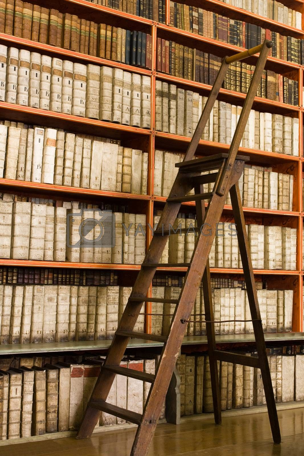 Library with aged books and ladder on the floor by SergeyAK