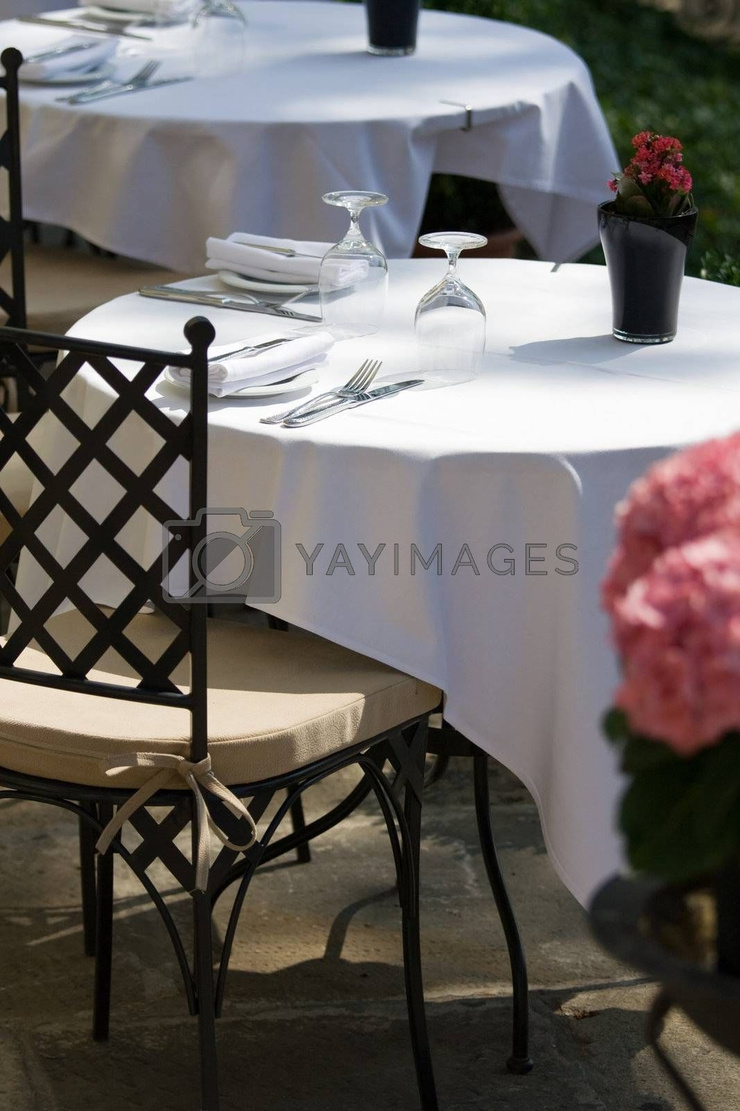 Free table for two at the restaurant by SergeyAK