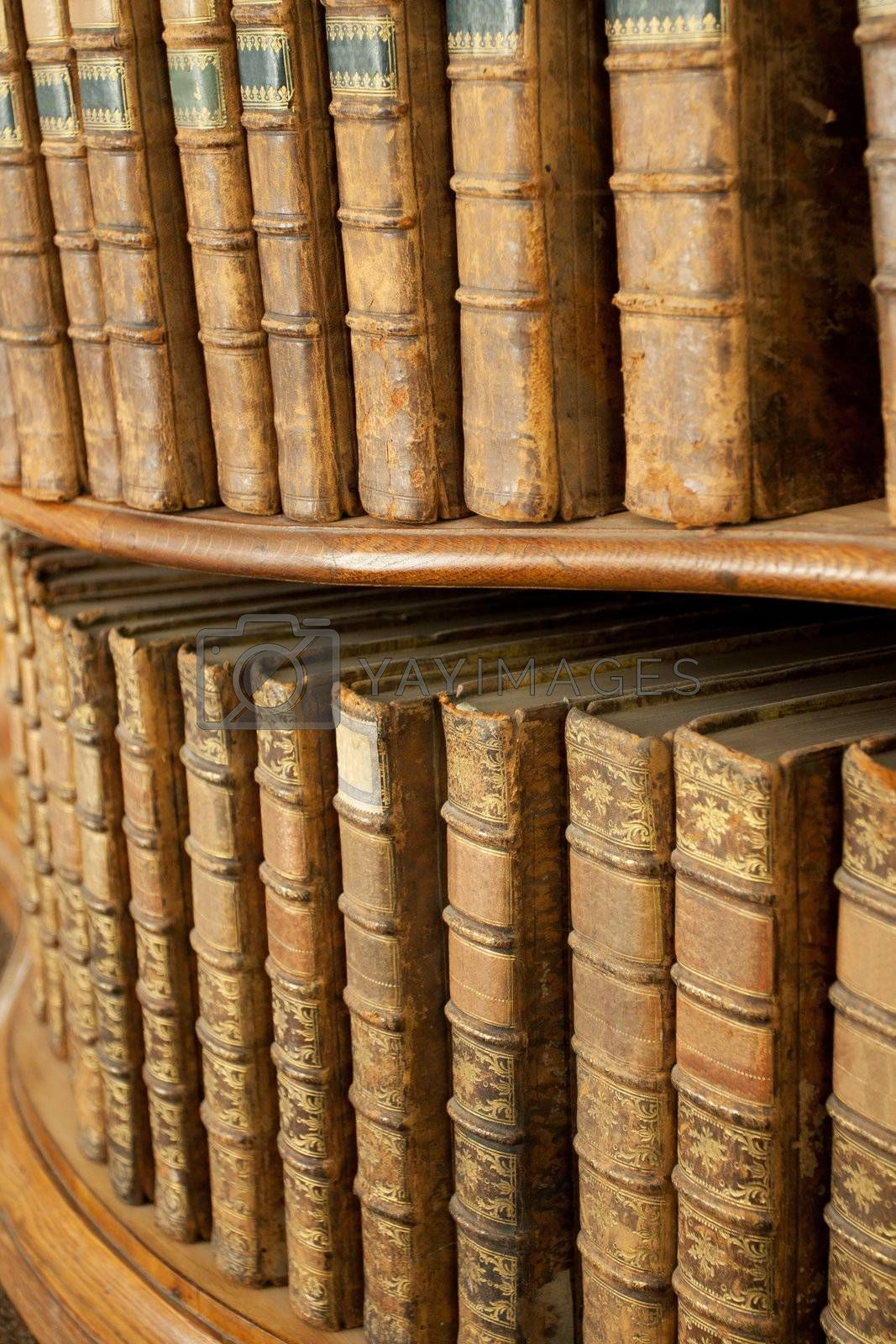 Hard covers of rust old medieval literary books on wooden shelves in bookcase