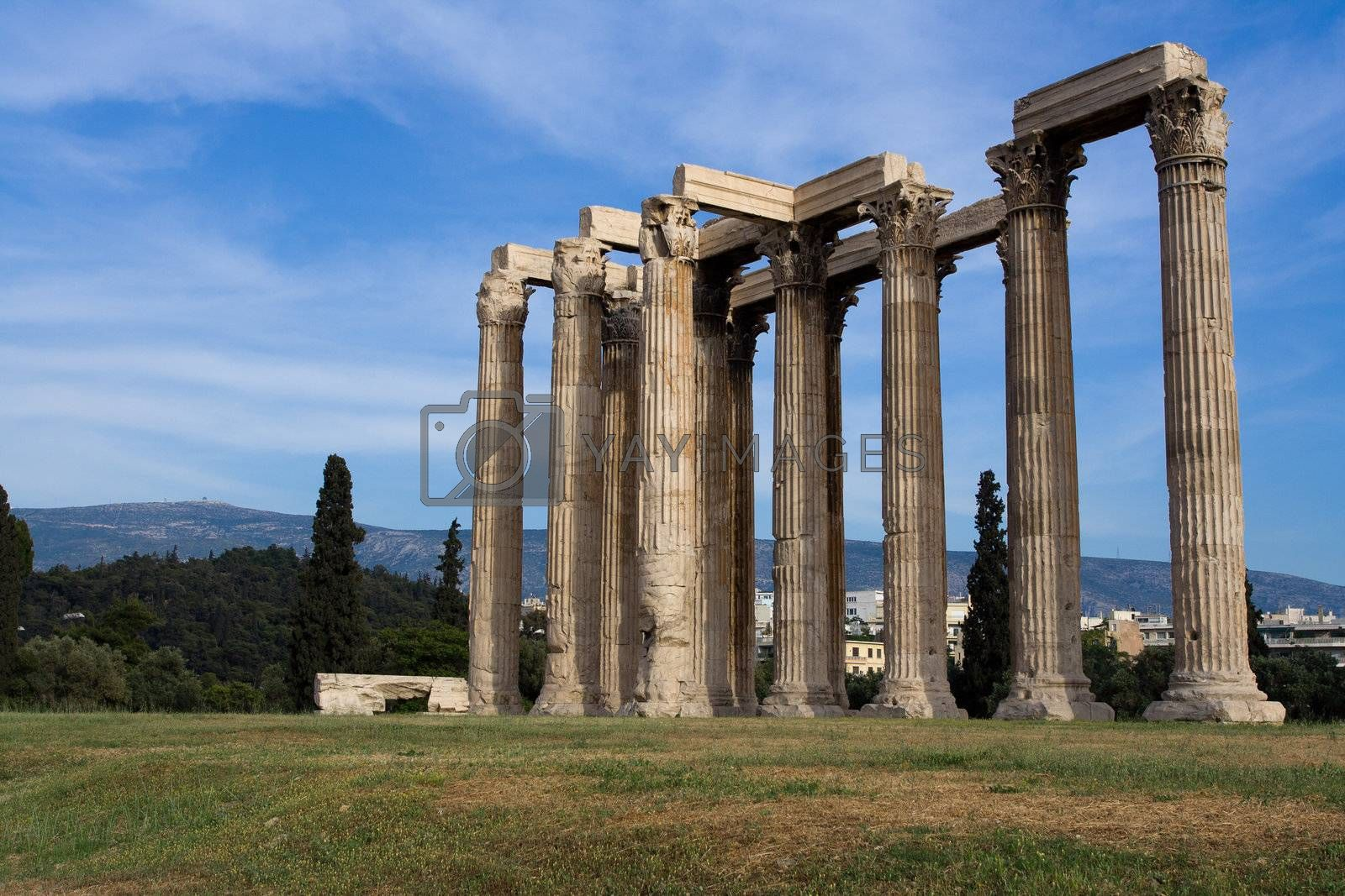 Close-up columns of Ancient Temple of Olympian Zeus in Athens Greece on blue sky background