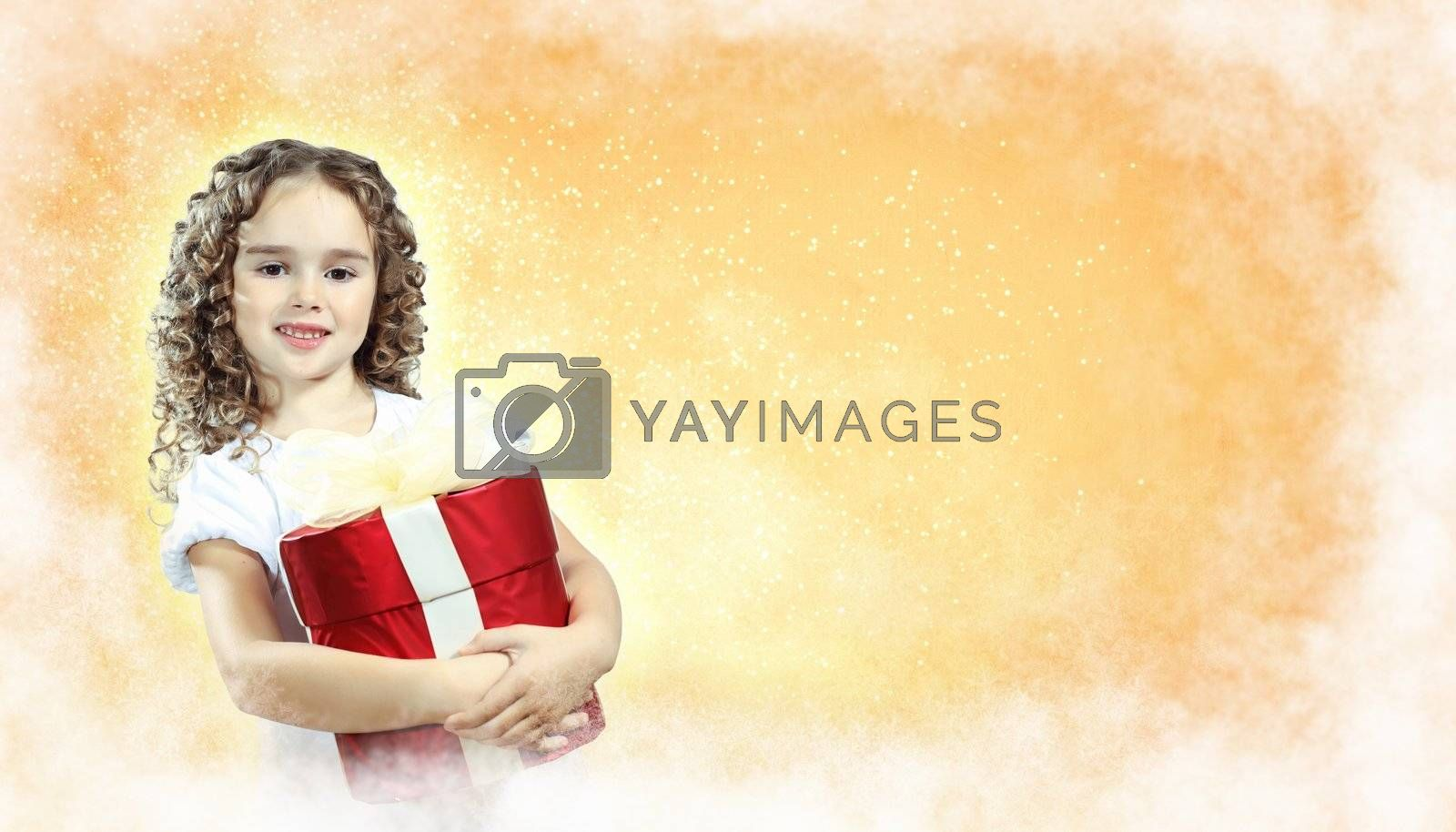 Happy girl opening gift box by Sergey Nivens