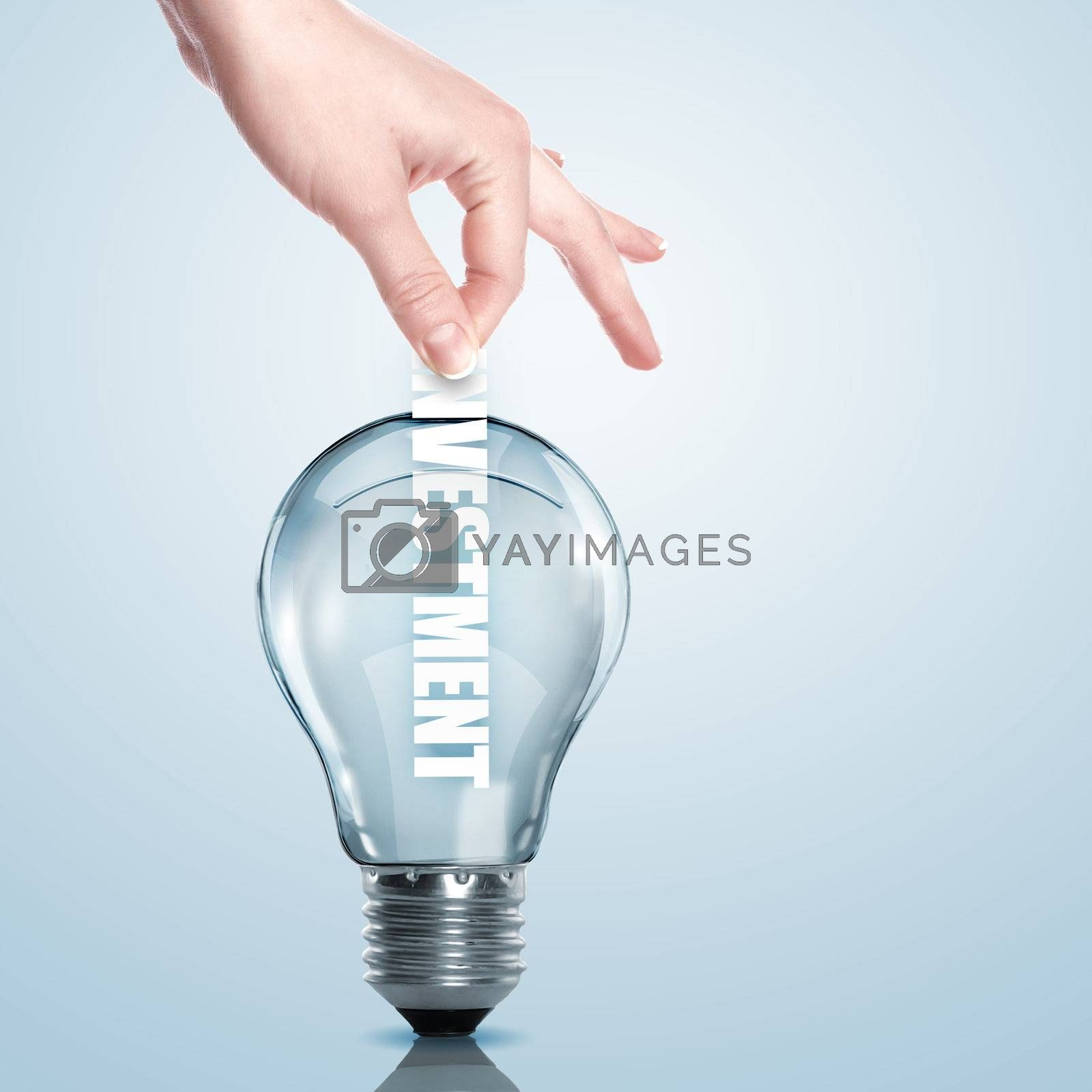 Business term and electric bulb by Sergey Nivens