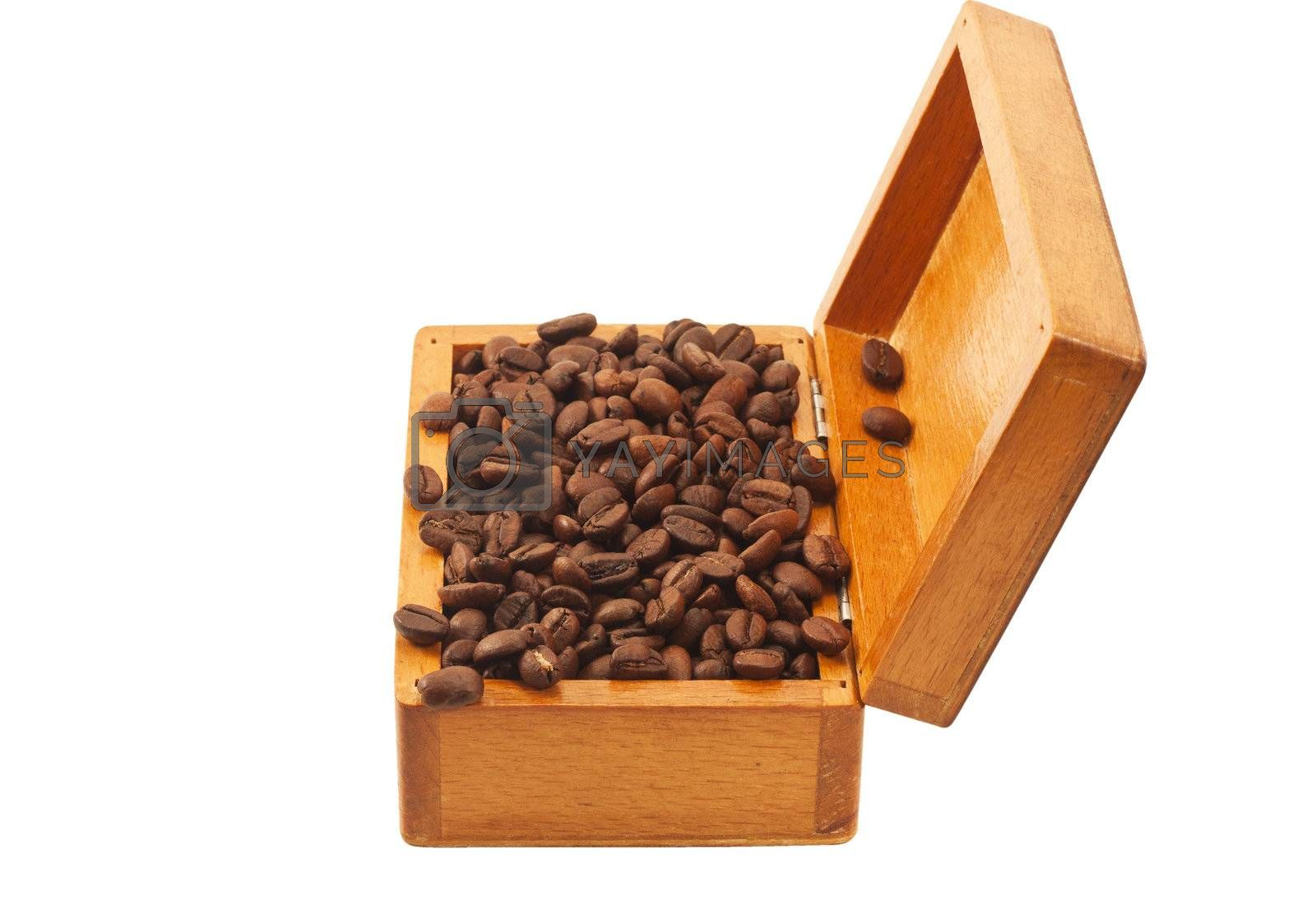 Open old wooden box with coffee beans isolated by alexvav