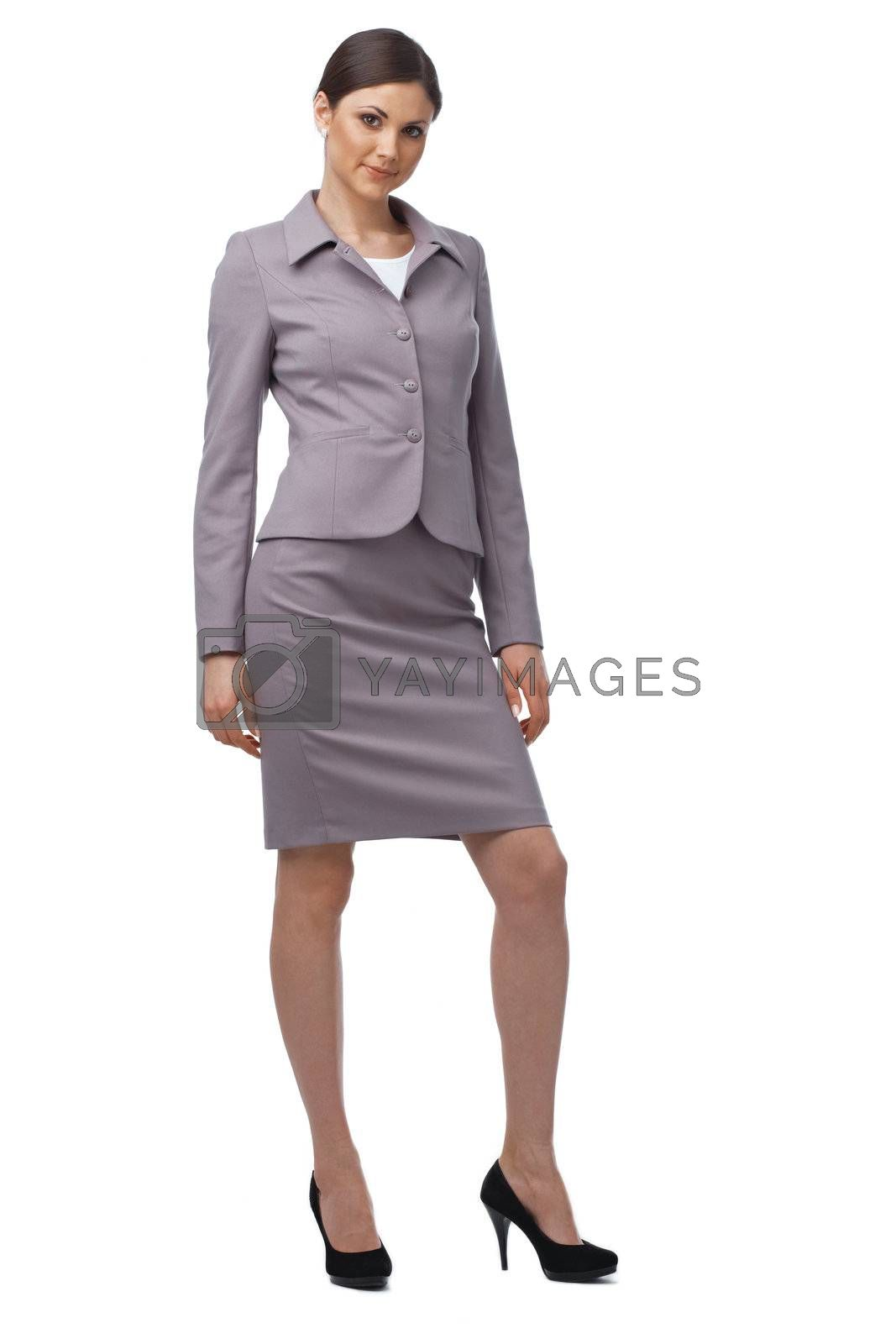 Full length of a young Caucasian business woman on white