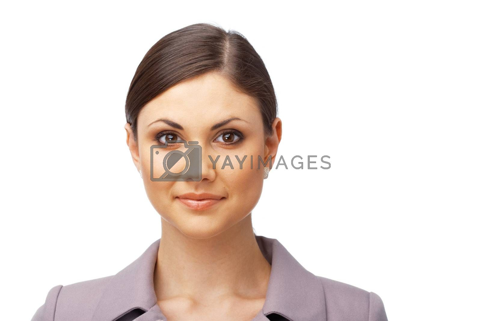 Pretty young business woman  looking at you on white background