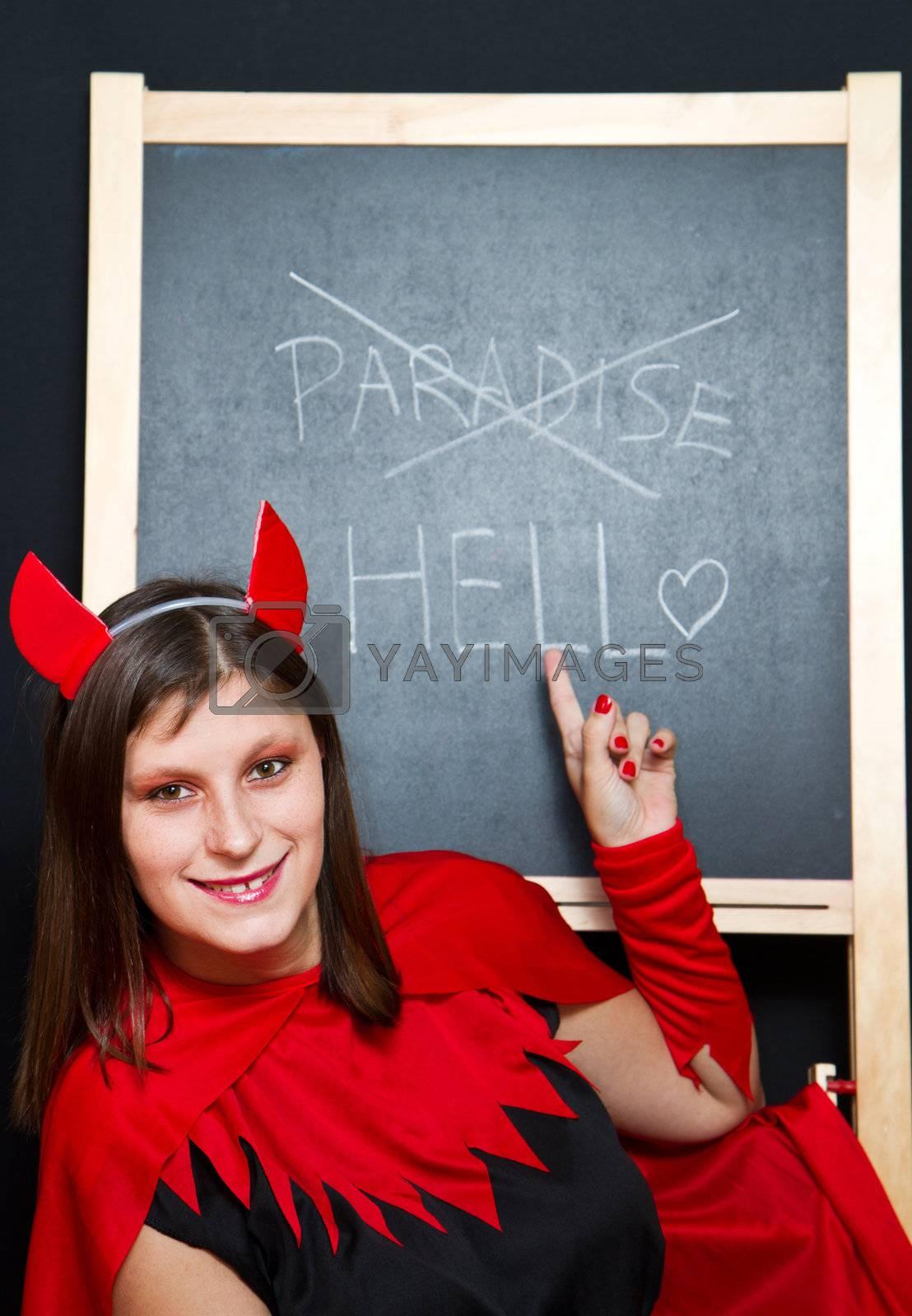 beautiful young devil woman by lsantilli