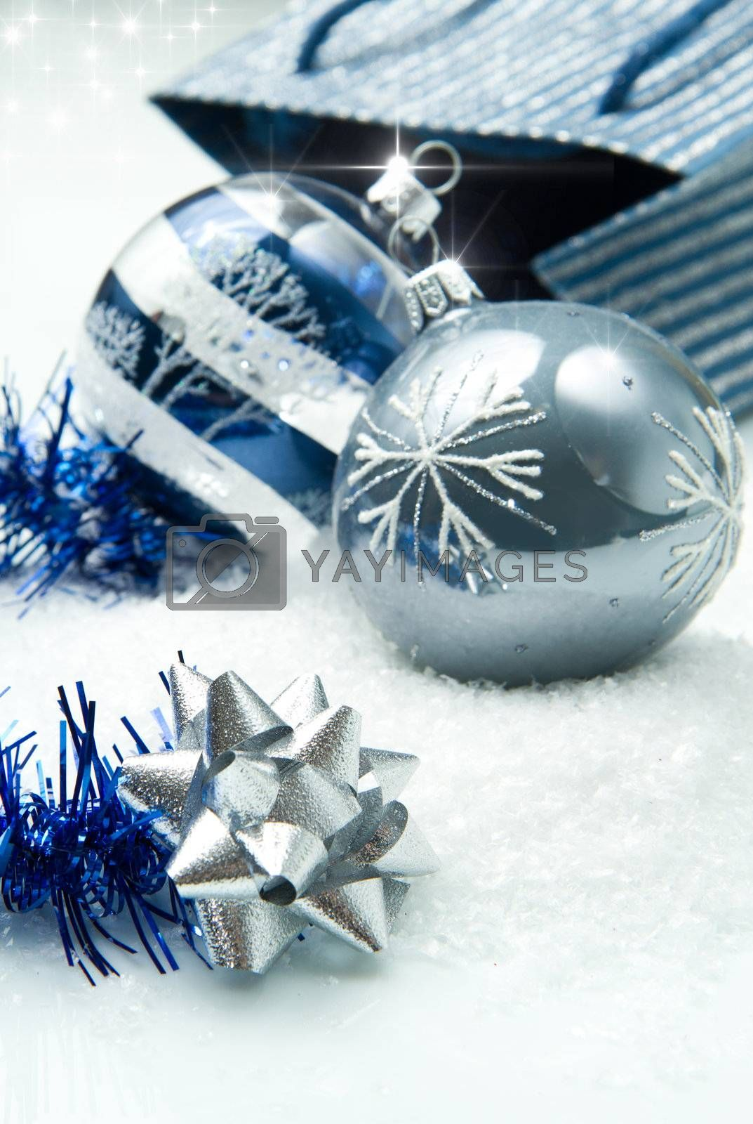 blue and silver christmas decorations by lsantilli