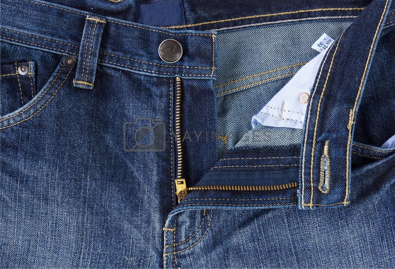 Close up photo  front of blue jeans  by stoonn