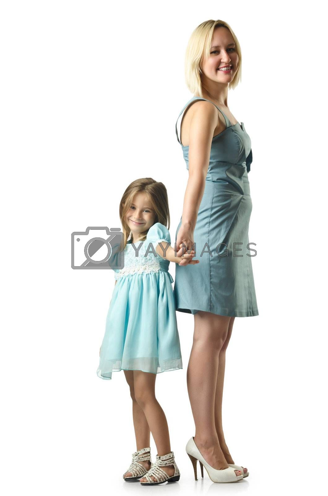 Mother with daughter isolated on white by Elnur